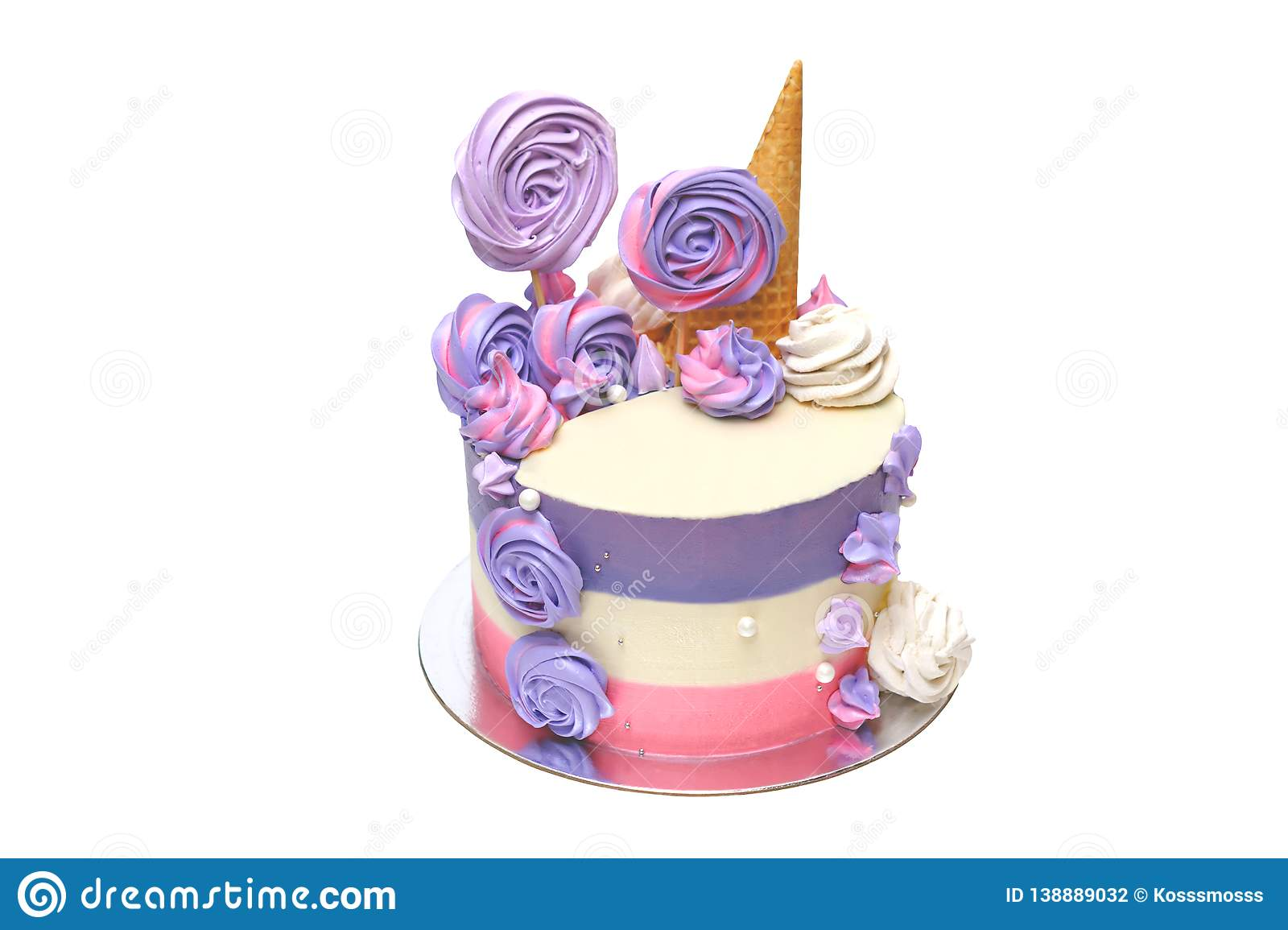 Awe Inspiring Birthday Cake With Colored Stripes Of Pink And Purple Decorated Personalised Birthday Cards Arneslily Jamesorg