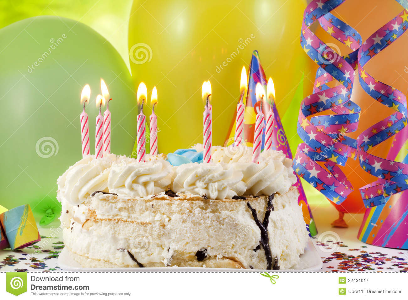 Birthday Cake And Colorful Background Royalty Free Stock