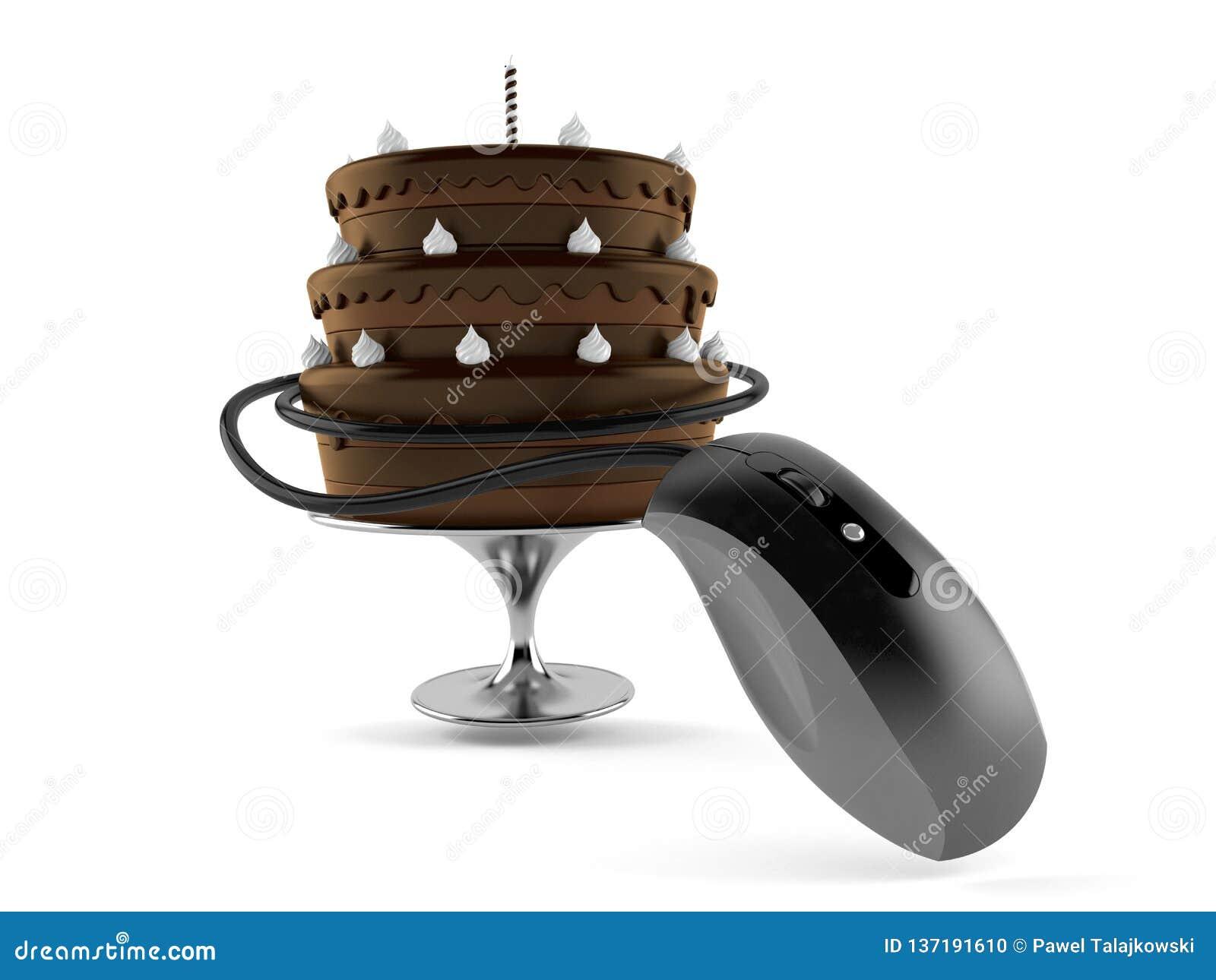 Fabulous Birthday Cake With Computer Mouse Stock Illustration Funny Birthday Cards Online Amentibdeldamsfinfo
