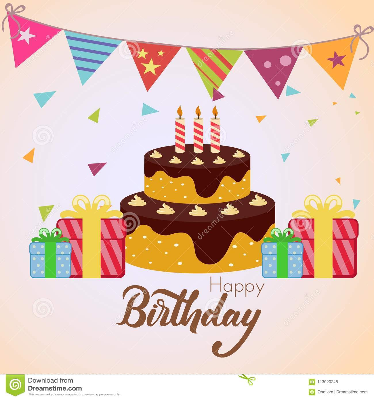 Birthday Cake With Confetti Stock Vector Illustration Of Confetti