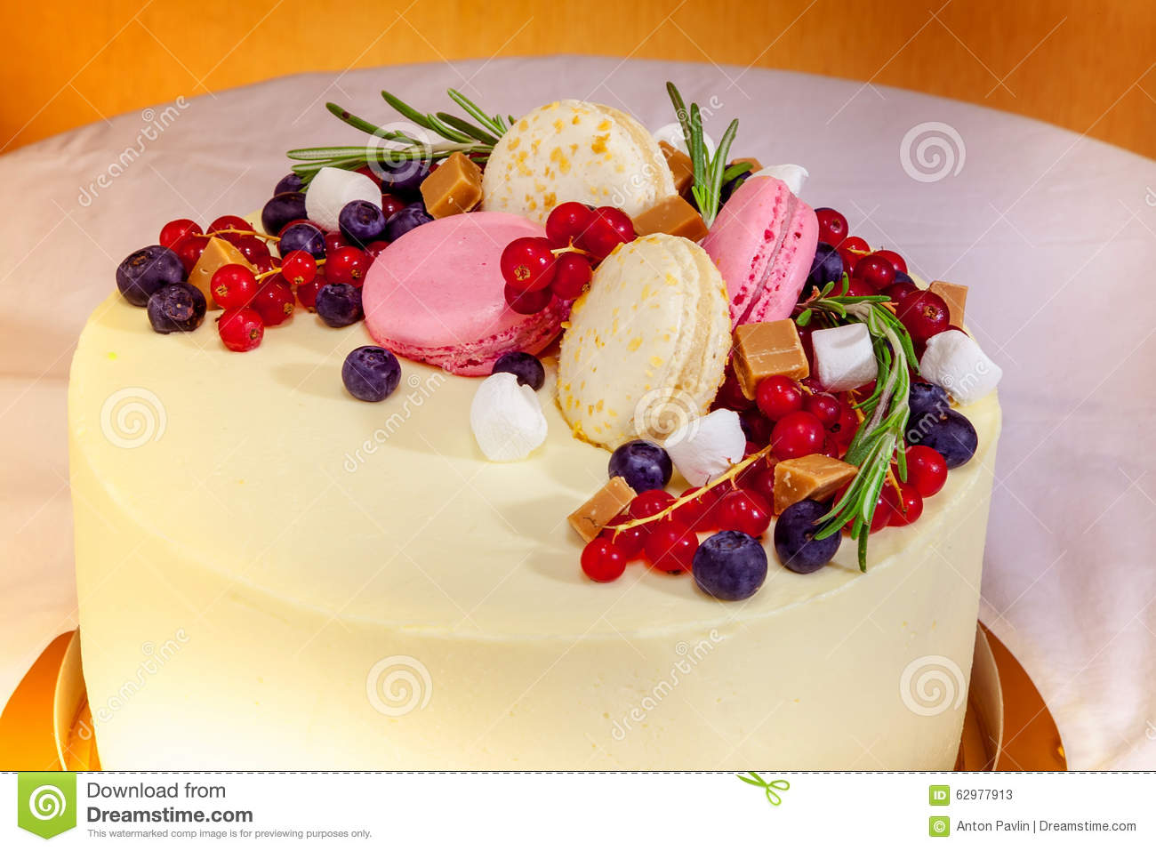 Birthday Cake With Cream Fresh Fruit And Berries Slide Stock Image