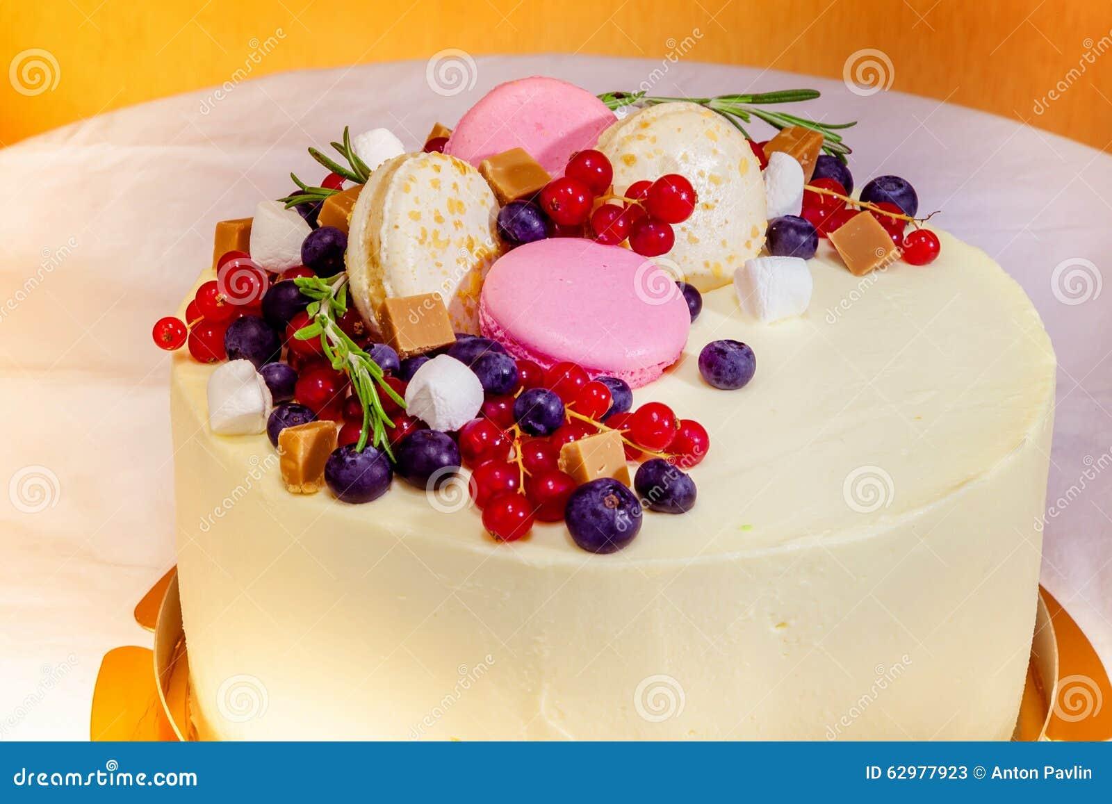 Birthday Cake With Cream Fresh Fruit And Berries Slide Stock Image