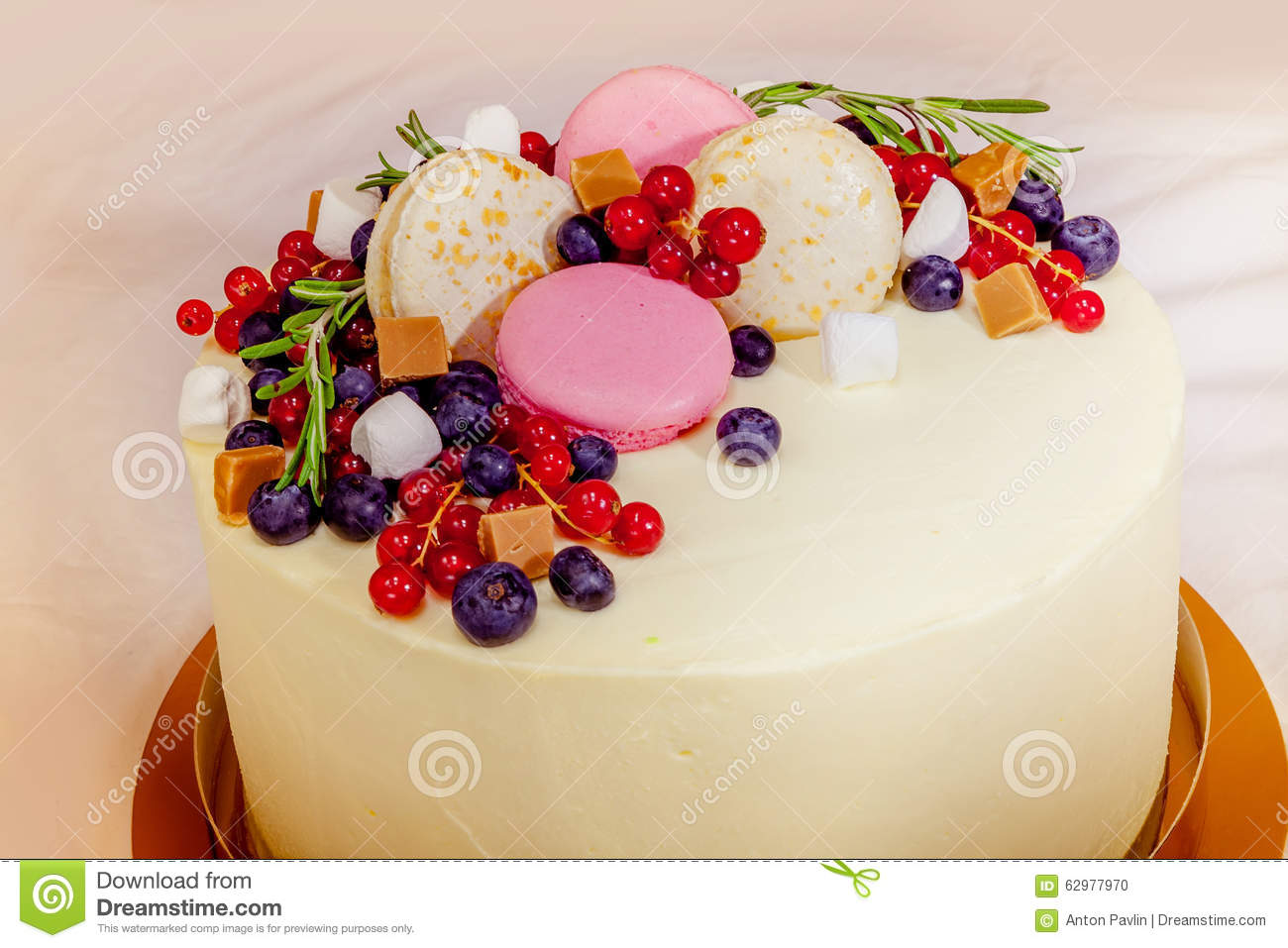 birthday cake with cream fresh fruit and berries slide stock photo