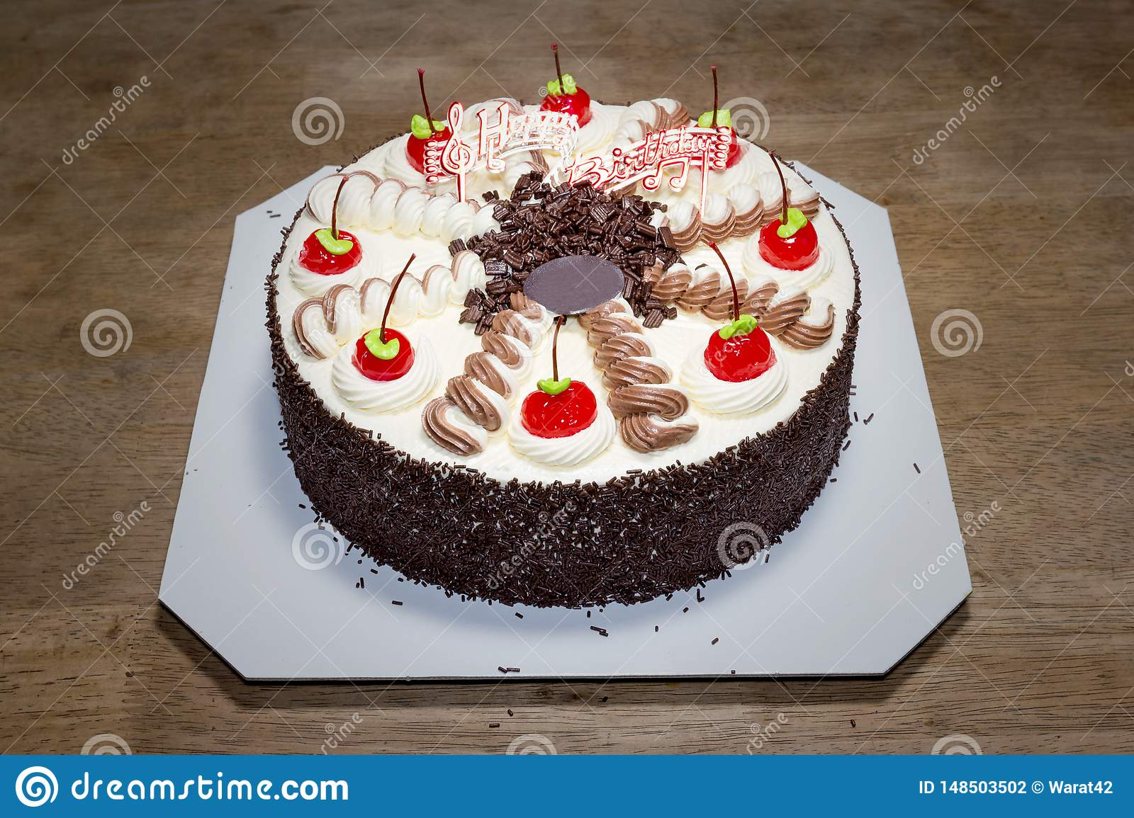 Awesome Birthday Cake With Cream And Red Cherry Stock Photo Image Of Funny Birthday Cards Online Fluifree Goldxyz