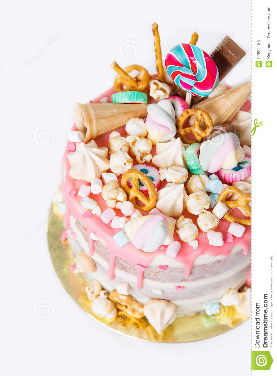 Birthday Cake With Decorated With Candies Lollipop Marshmallows