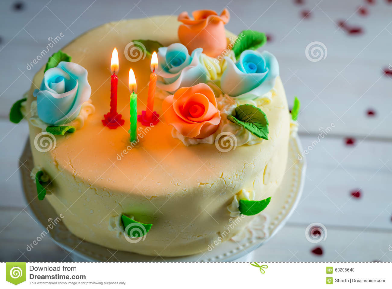 Decorated Birthday Cakes Decorated Birthday Cake With Candles Stock Photo Image 52024931