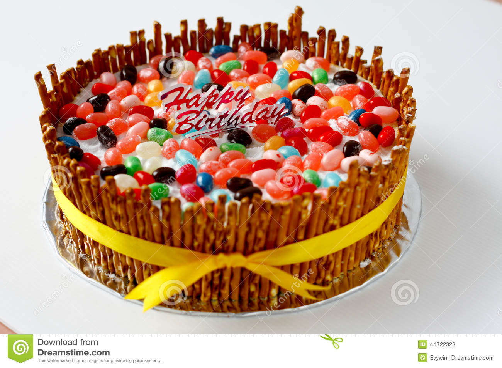 Cake Recipe Jelly Beans: Birthday Cake Stock Photo