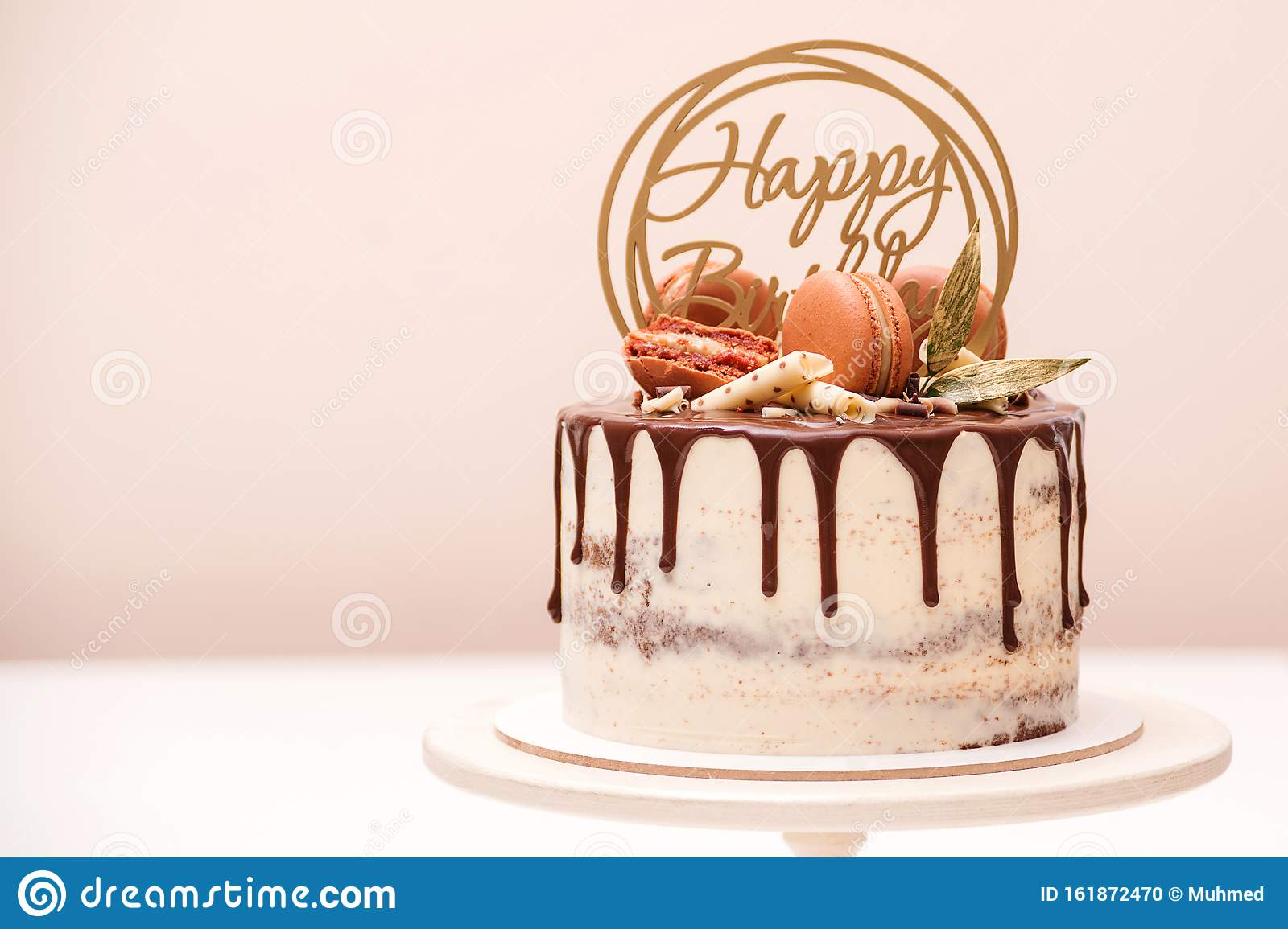 Miraculous Birthday Cake Decorated With Golden Macaroons And Chocolate Pieces Personalised Birthday Cards Veneteletsinfo