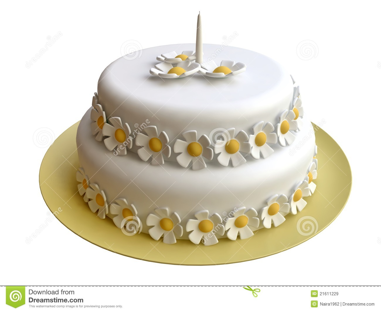 Flores De Aniversario: Birthday Cake Decorated With Marzipan Flowers Royalty Free