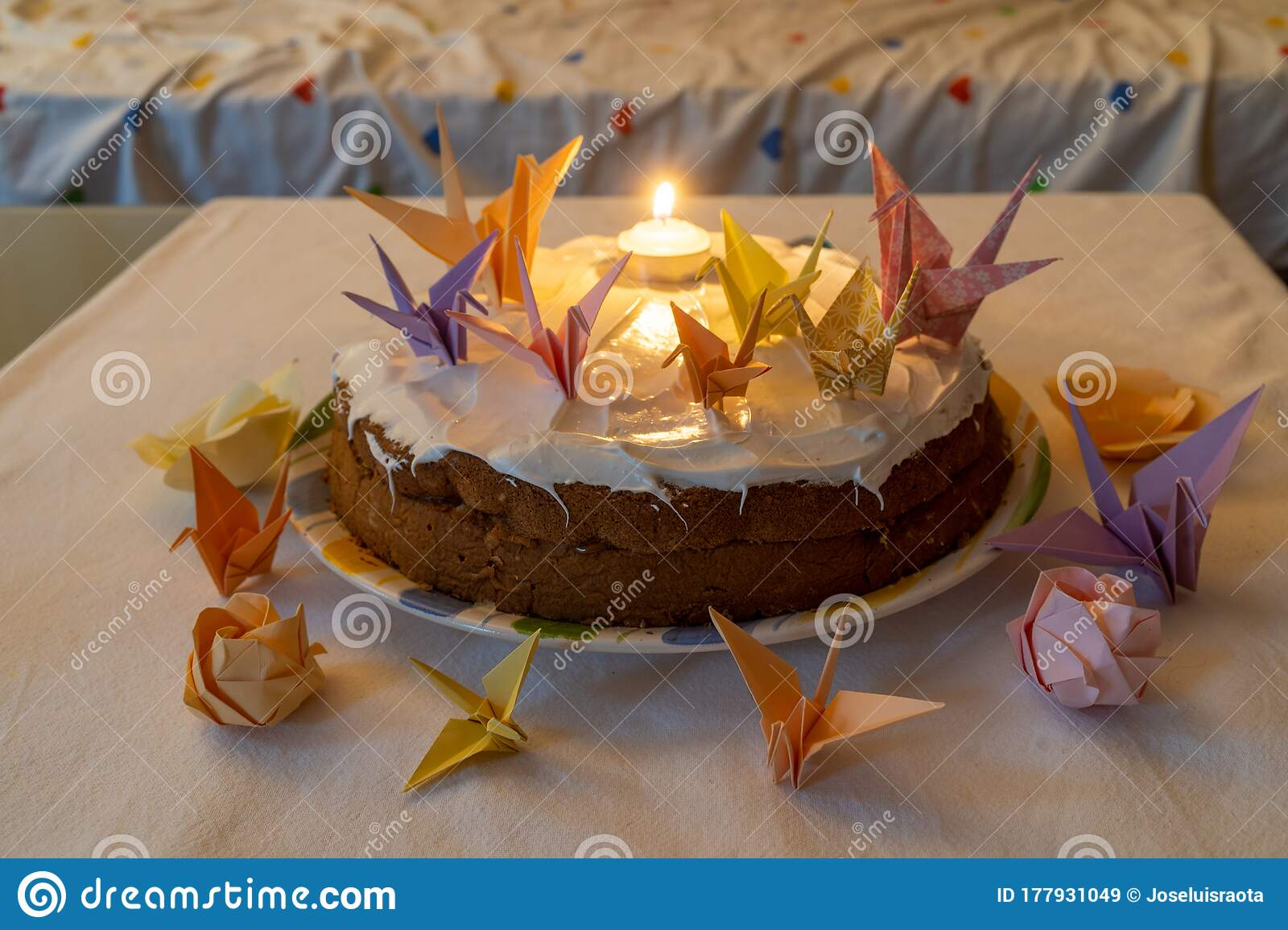Magnificent Birthday Cake Decorated With Origami In Solitude Without People Funny Birthday Cards Online Alyptdamsfinfo
