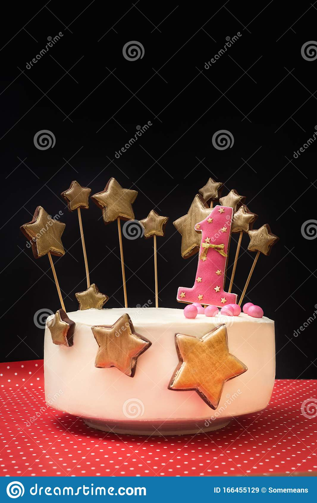 Peachy Birthday Cake Decorated With Pink Number 1 And Gold Stars Of Funny Birthday Cards Online Hetedamsfinfo