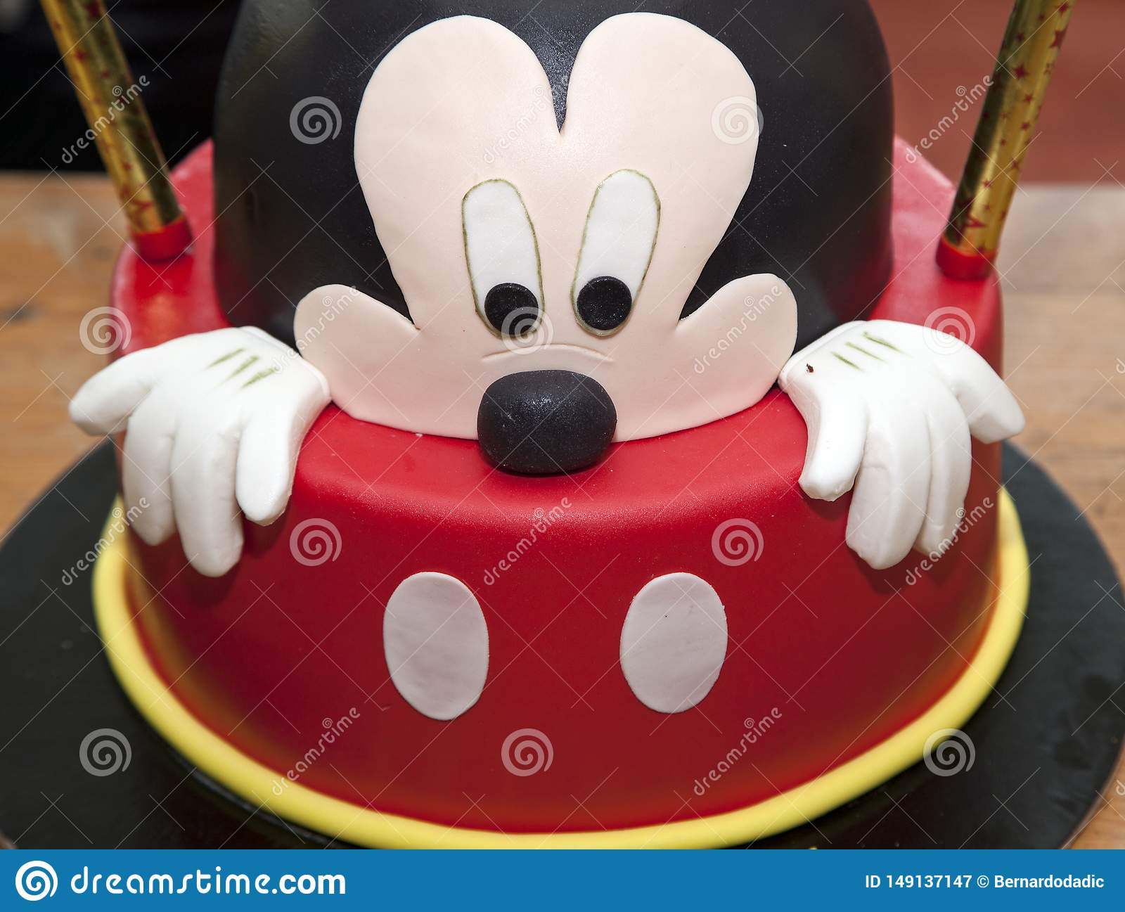 Astounding Birthday Cake Decorated On A Wood Table Mickey Mouse Editorial Funny Birthday Cards Online Fluifree Goldxyz
