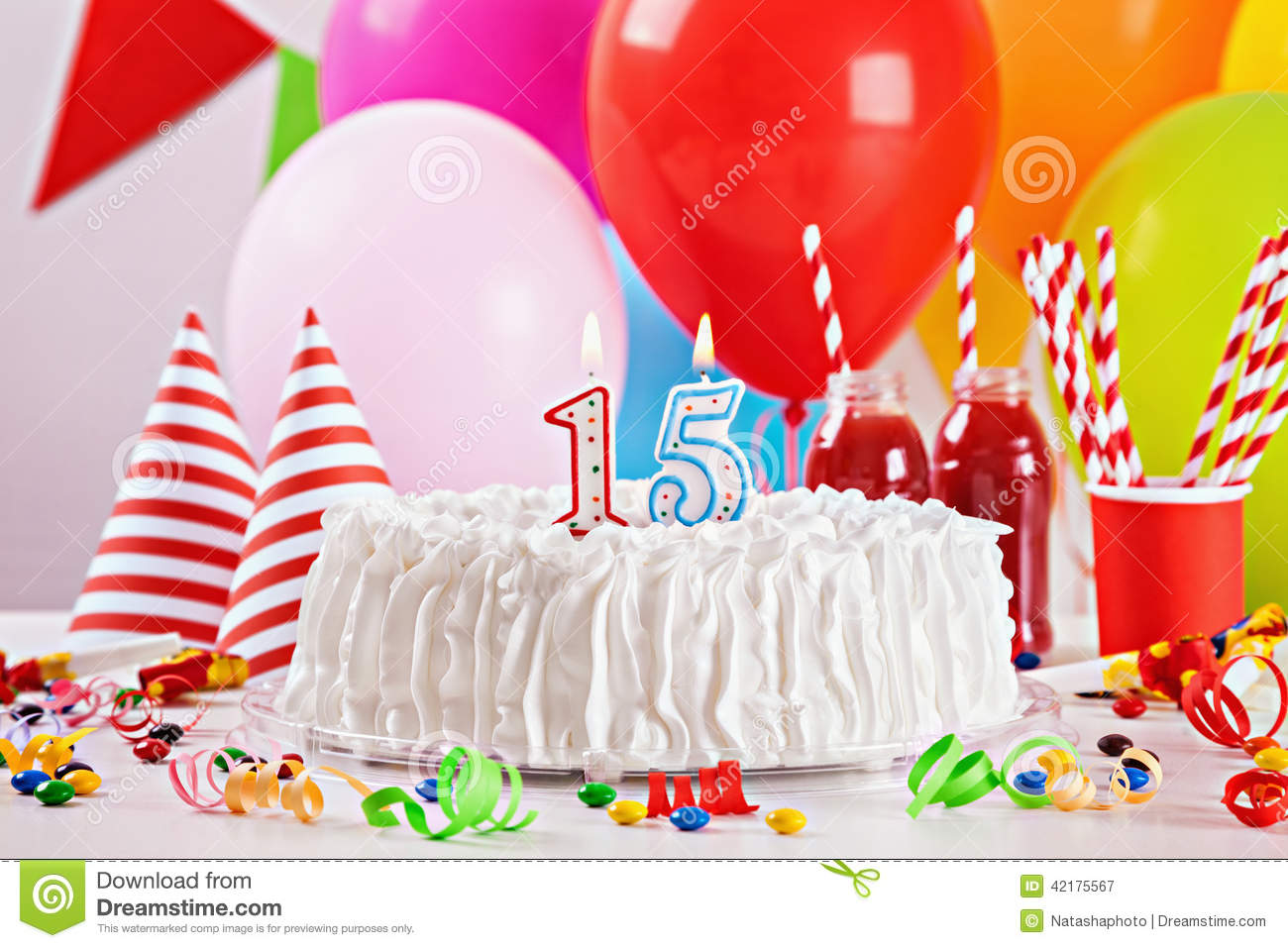 Birthday cake and decoration stock photo image 42175567 for Balloon cake decoration