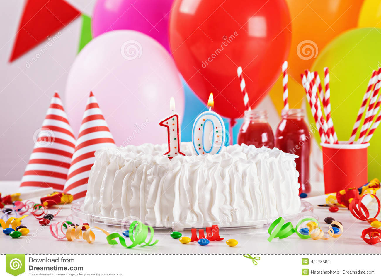 Birthday Cake And Decoration Stock Image Image Of Candy Food