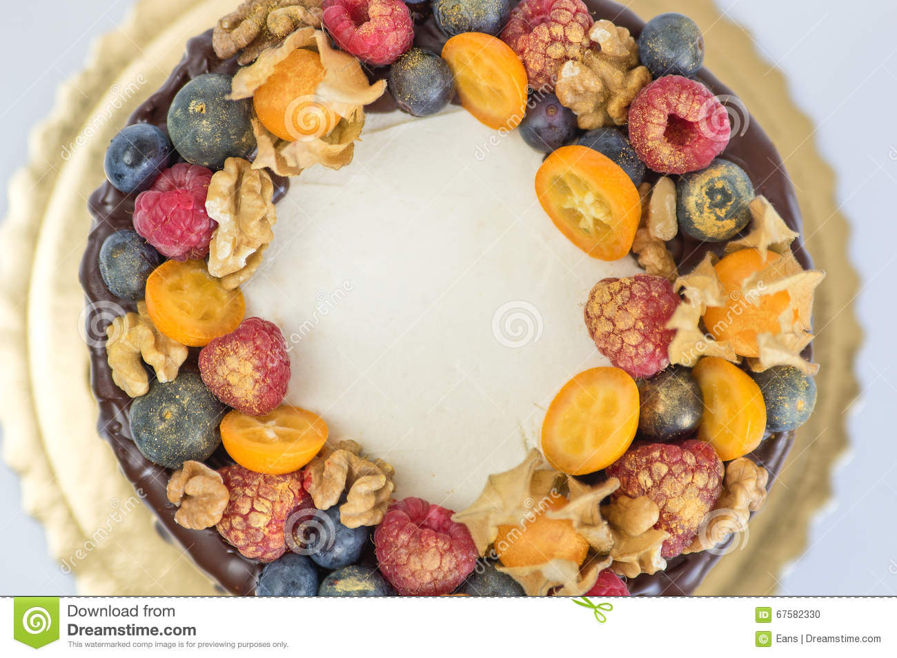 Birthday Cake Decoration With Fruits Stock Photo Image Of Berry