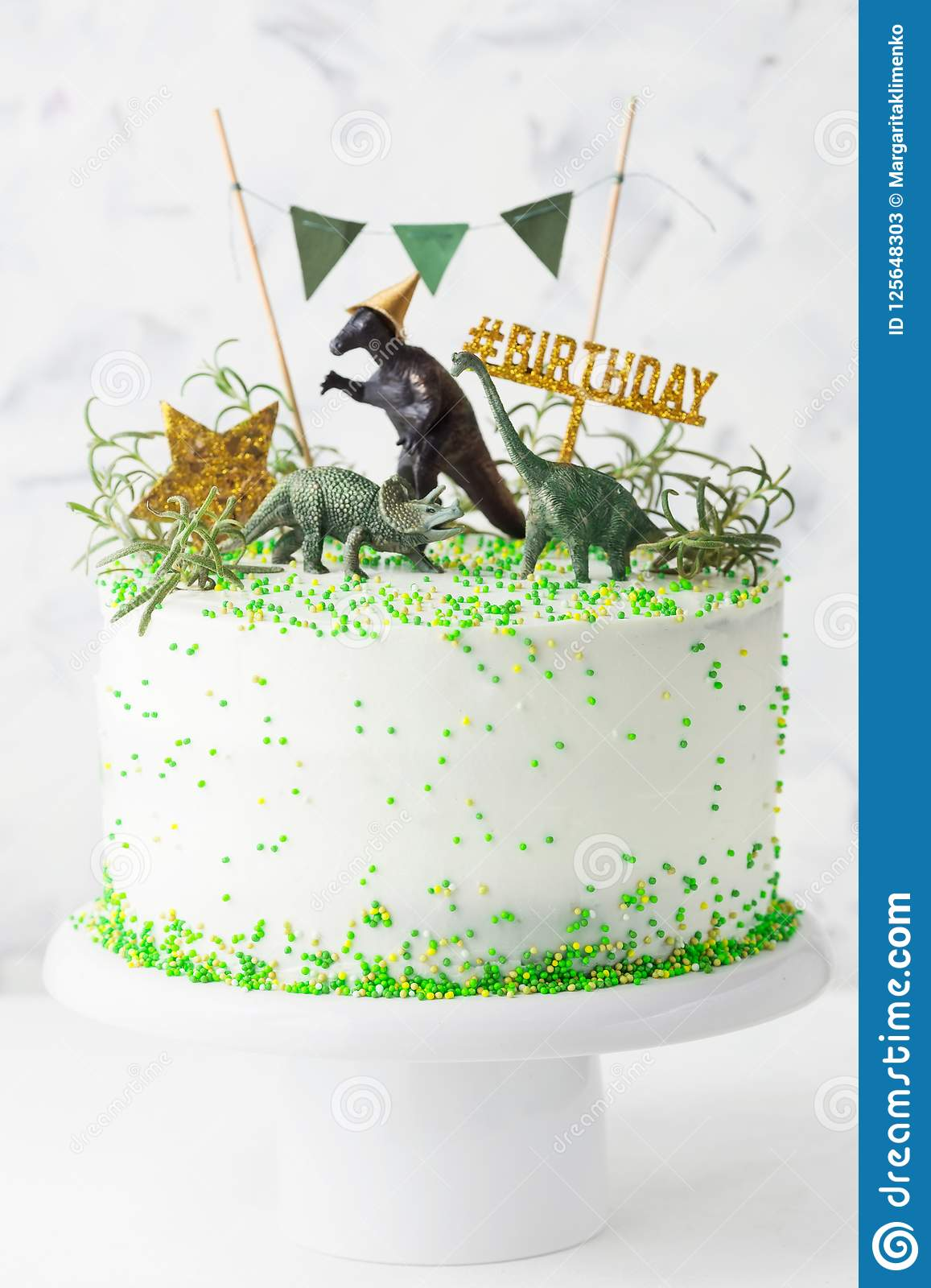 Tremendous Birthday Cake With Dinosaur Stock Image Image Of Nobody Funny Birthday Cards Online Alyptdamsfinfo
