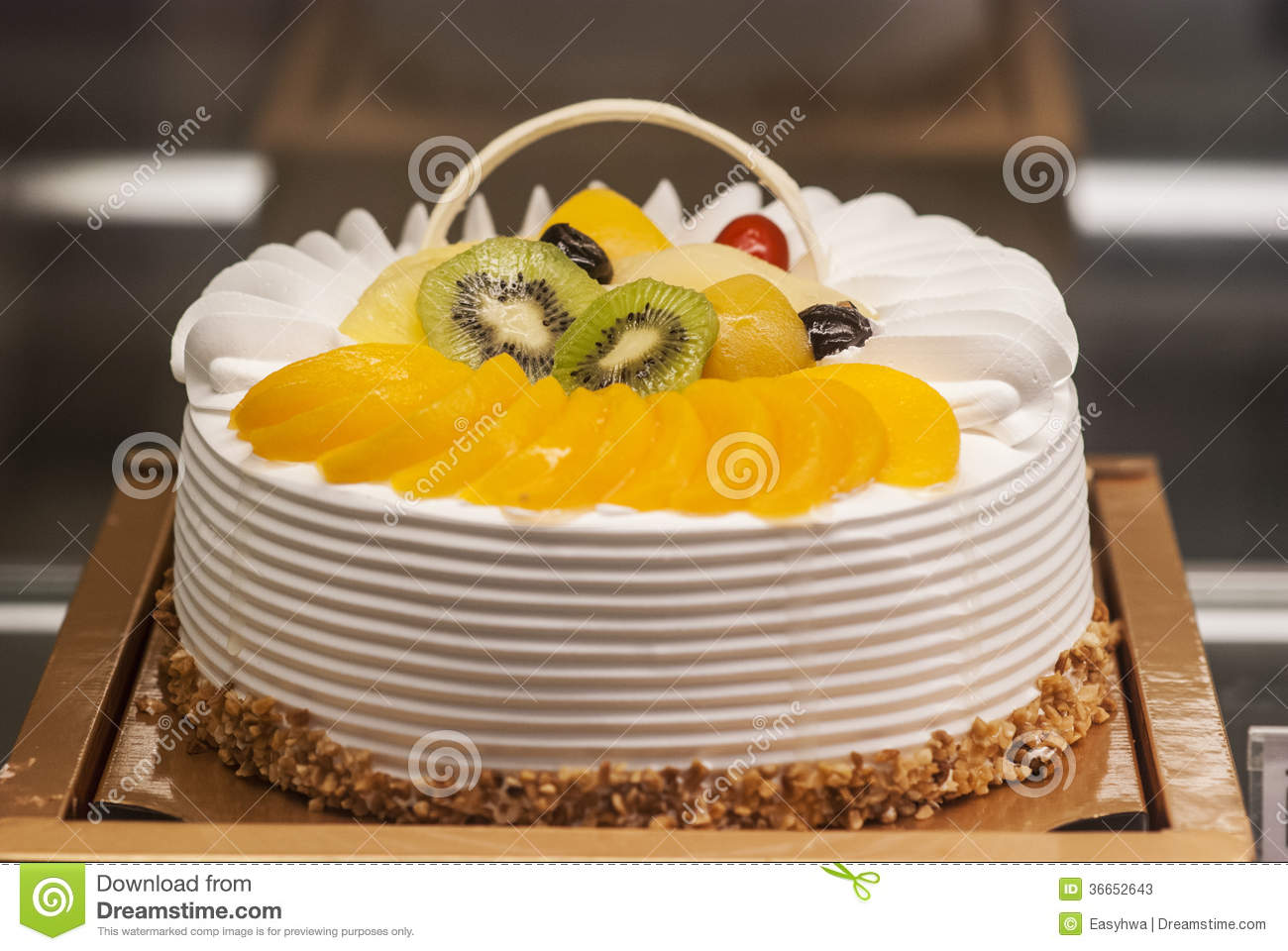 Birthday Cake Displayed In Shop Window Stock Image Image Of Bakery