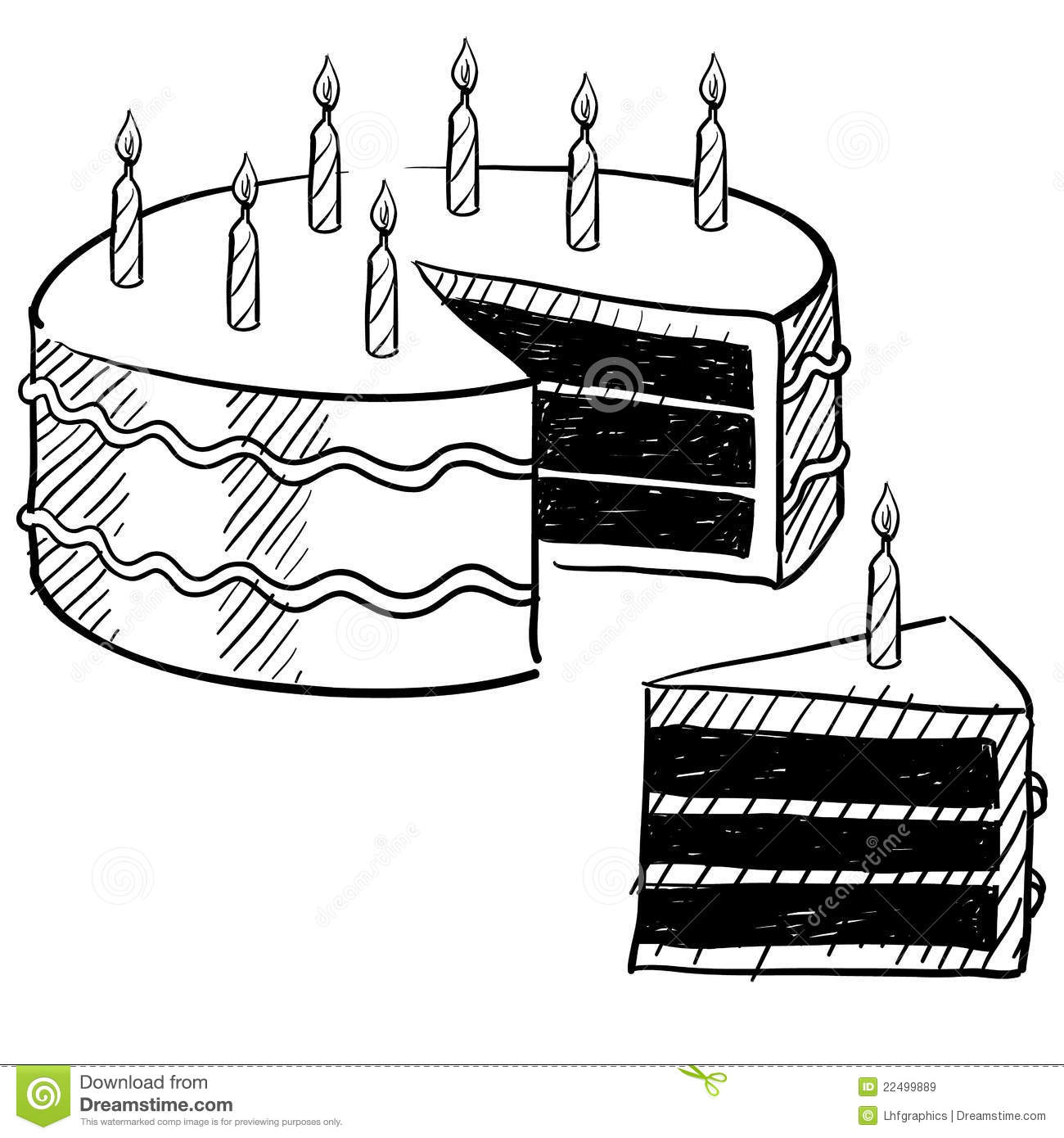 Birthday Cake Drawing Stock Vector Illustration Of Sweet 22499889
