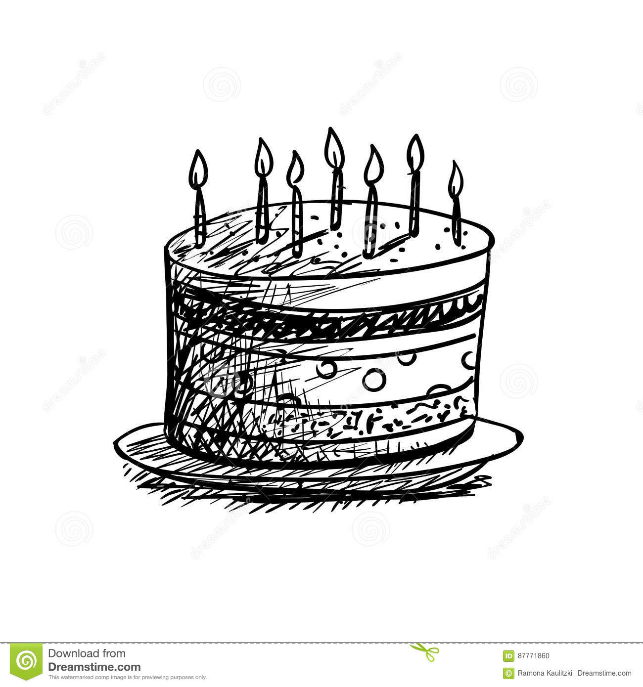 Birthday Cake Drawing Stock Illustration Illustration Of Design