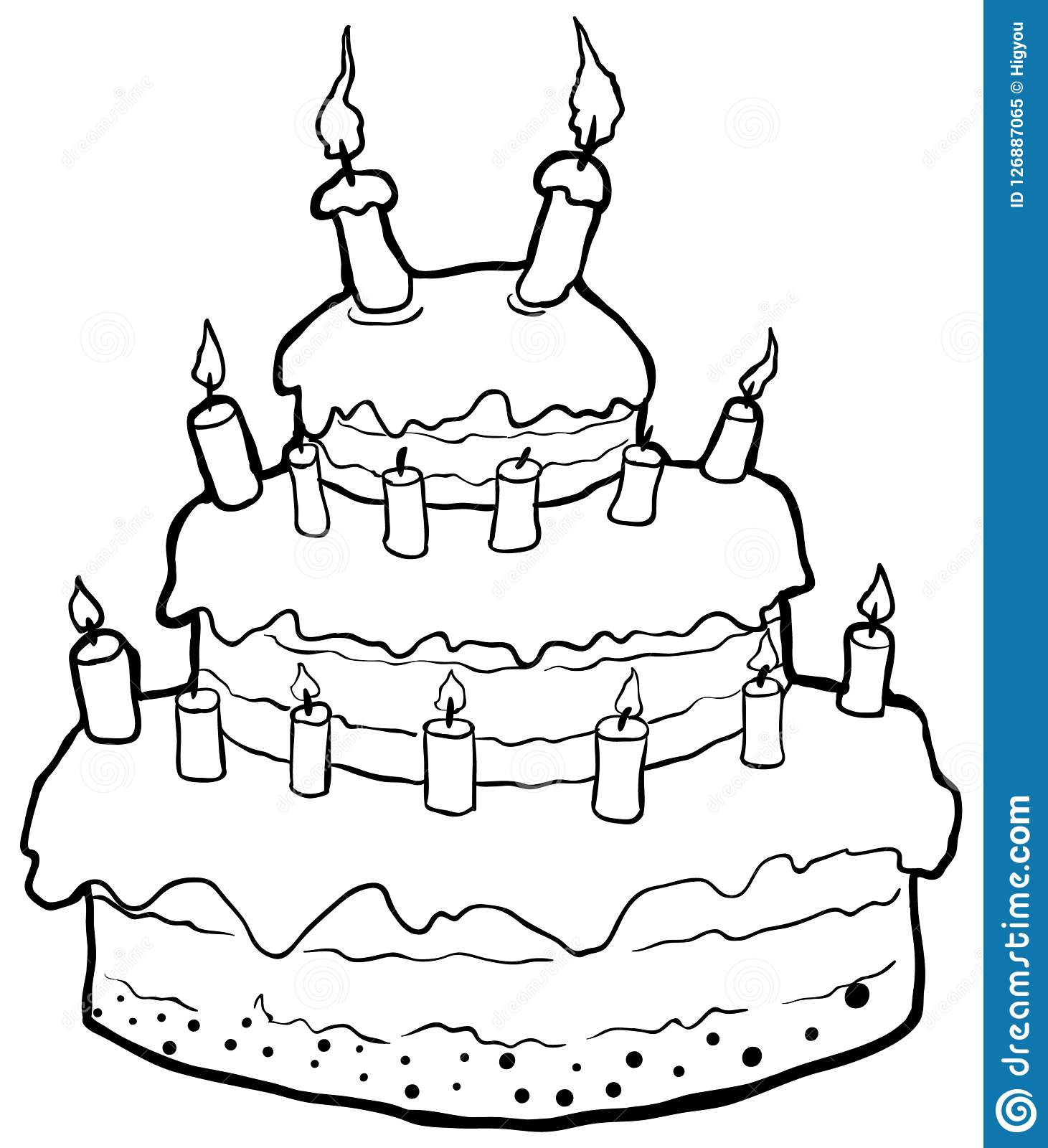 Birthday Cake Drawing Stock Vector Illustration Of Isolated 126887065