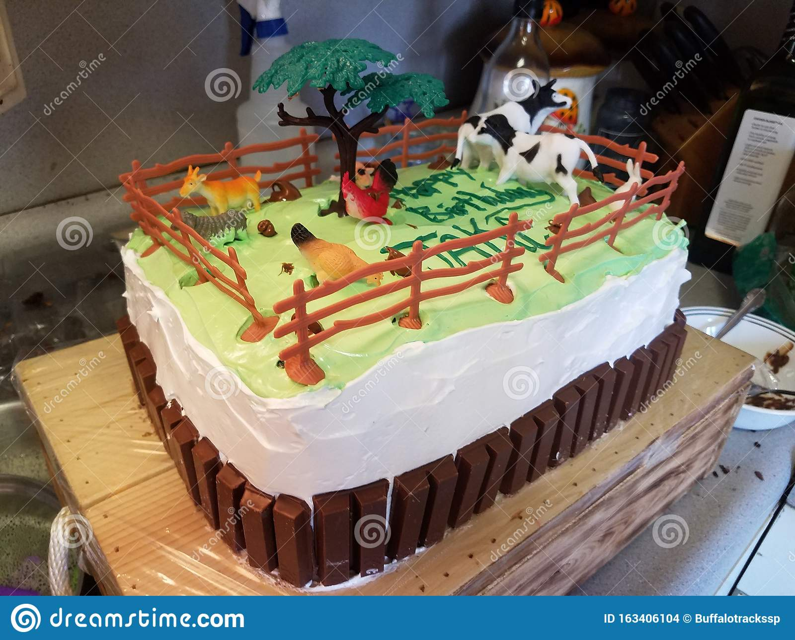 Tremendous Birthday Cake With A Farm Animal Theme Stock Photo Image Of Cake Birthday Cards Printable Opercafe Filternl