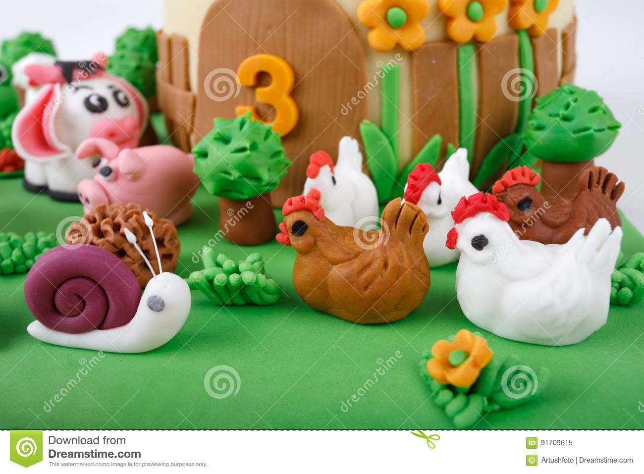 Birthday Cake With Farm Marzipan Animals Stock Image Image Of Fine