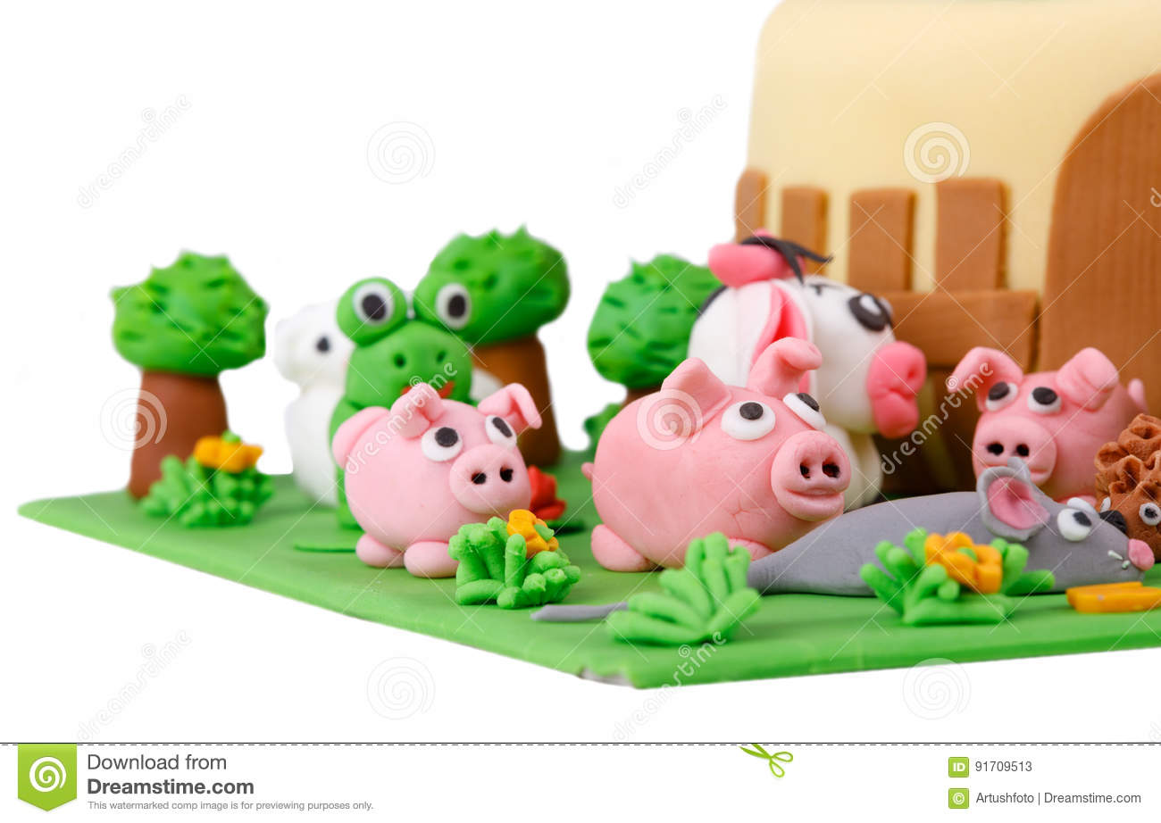 Wondrous Birthday Cake With Farm Marzipan Animals Stock Image Image Of Funny Birthday Cards Online Inifodamsfinfo
