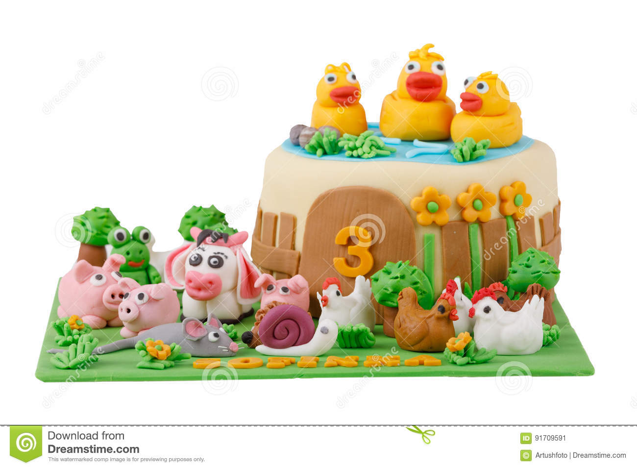Incredible Birthday Cake With Farm Marzipan Animals Stock Image Image Of Funny Birthday Cards Online Inifodamsfinfo