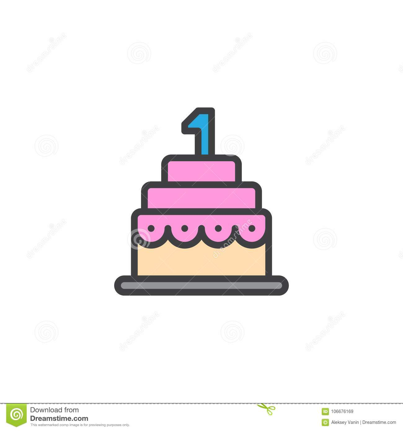 Birthday Cake Filled Outline Icon Stock Vector Illustration of