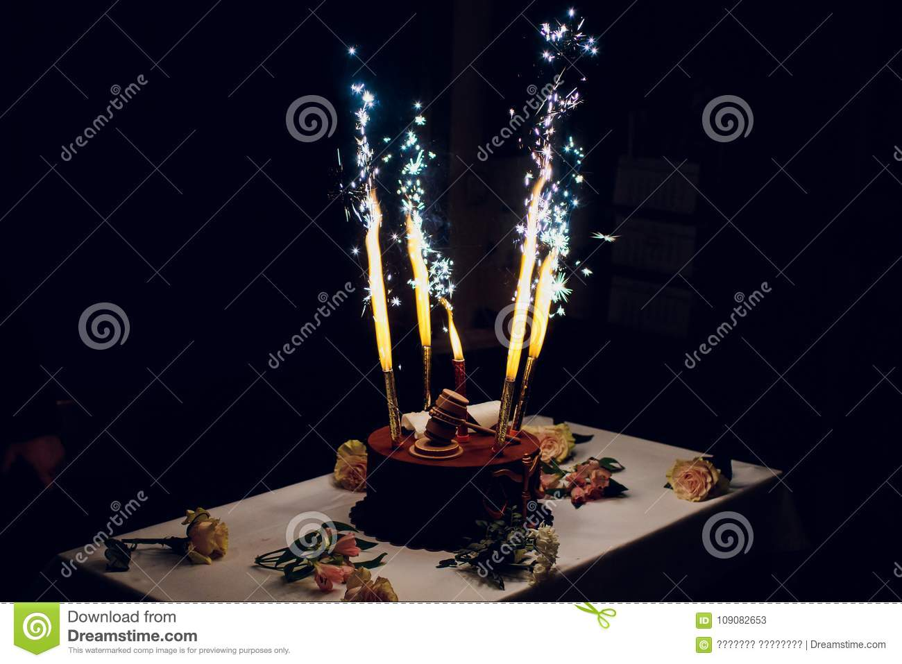 Marvelous Birthday Cake With Fireworks On Table Stock Image Image Of Happy Funny Birthday Cards Online Alyptdamsfinfo