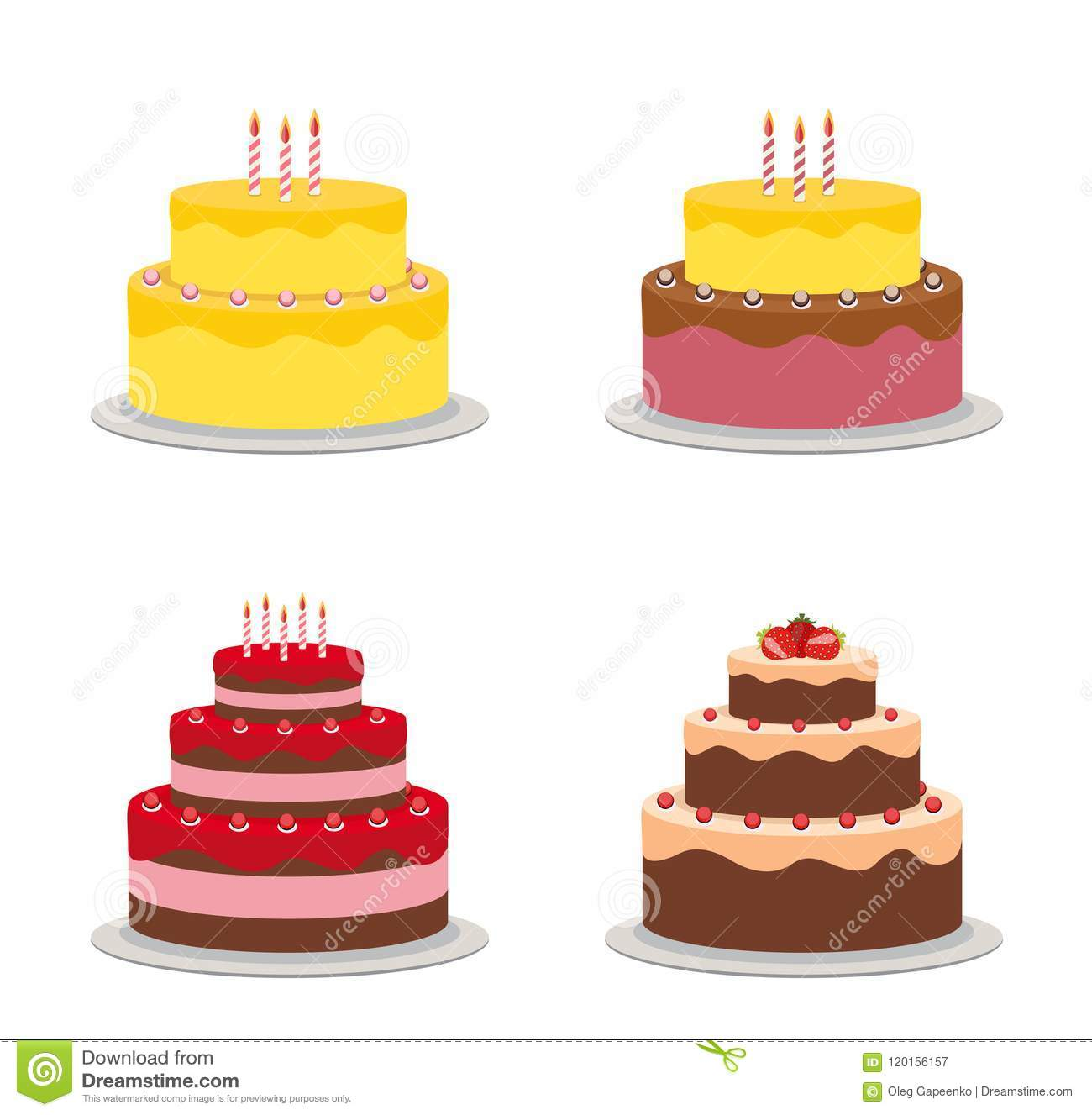 Birthday Cake Flat Icon Cllection Set For Your Design Vector