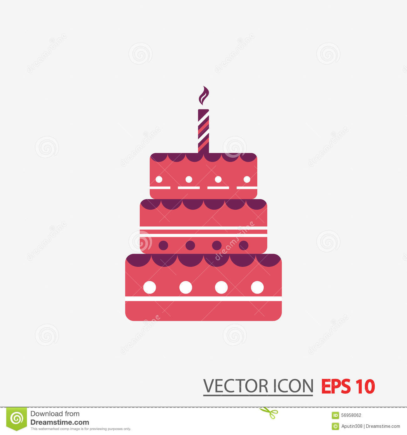 Birthday Cake Flat Icon With Long Shadow Eps10 Stock Illustration