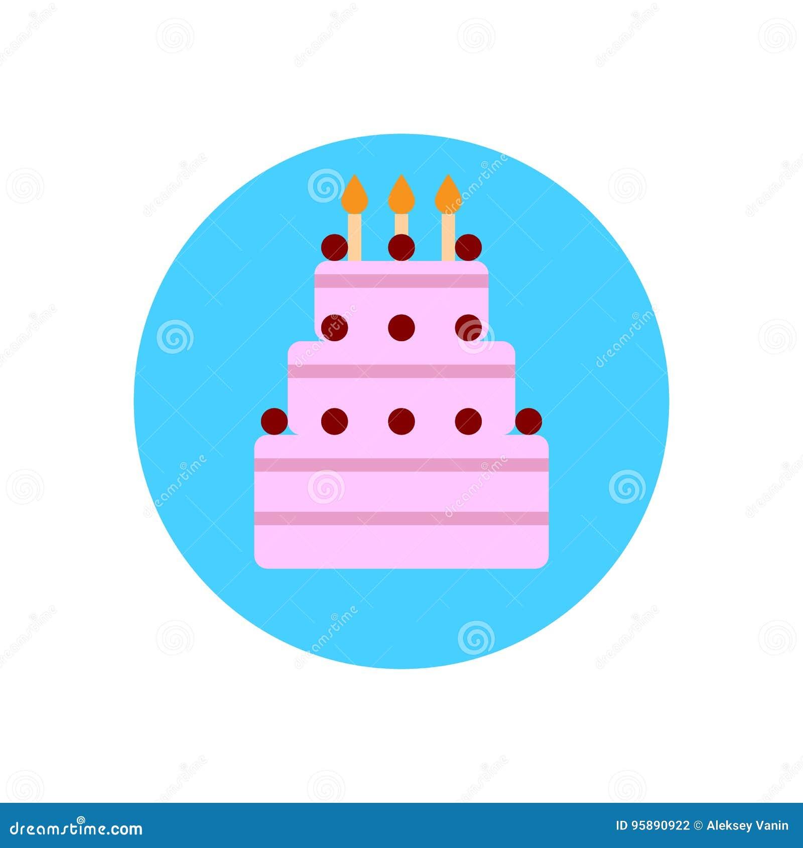 Birthday Cake Flat Icon Round Colorful Button Circular Vector Sign