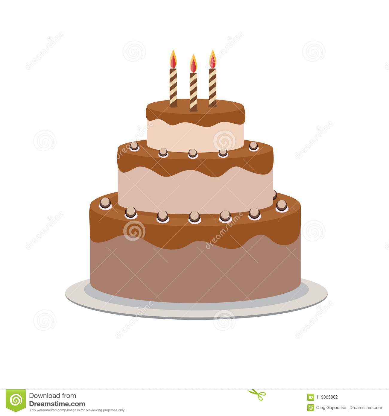 Birthday Cake Flat Icon For Your Design Vector Illustration Stock