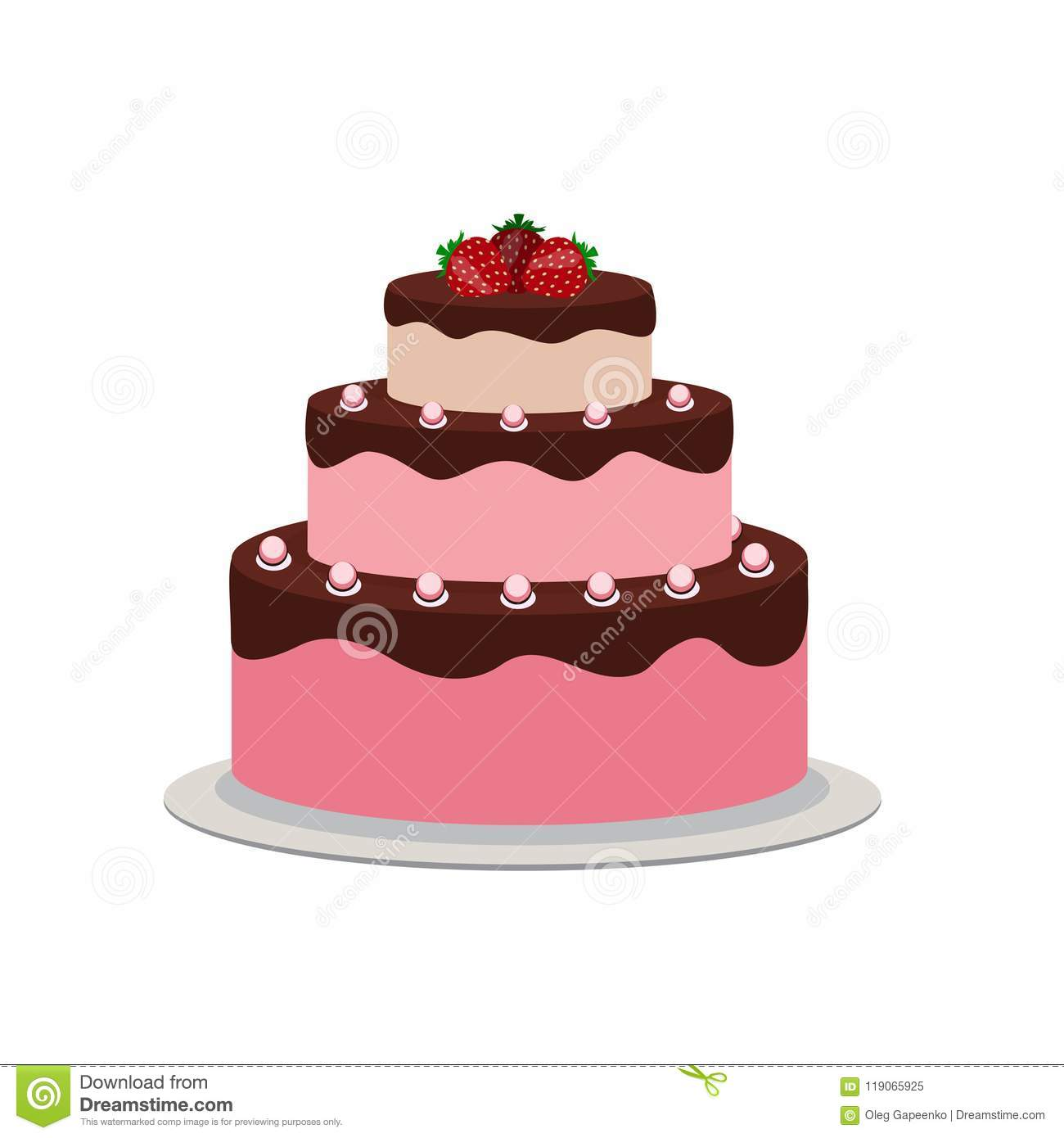 Birthday Cake Flat Icon For Your Design Vector Illustration
