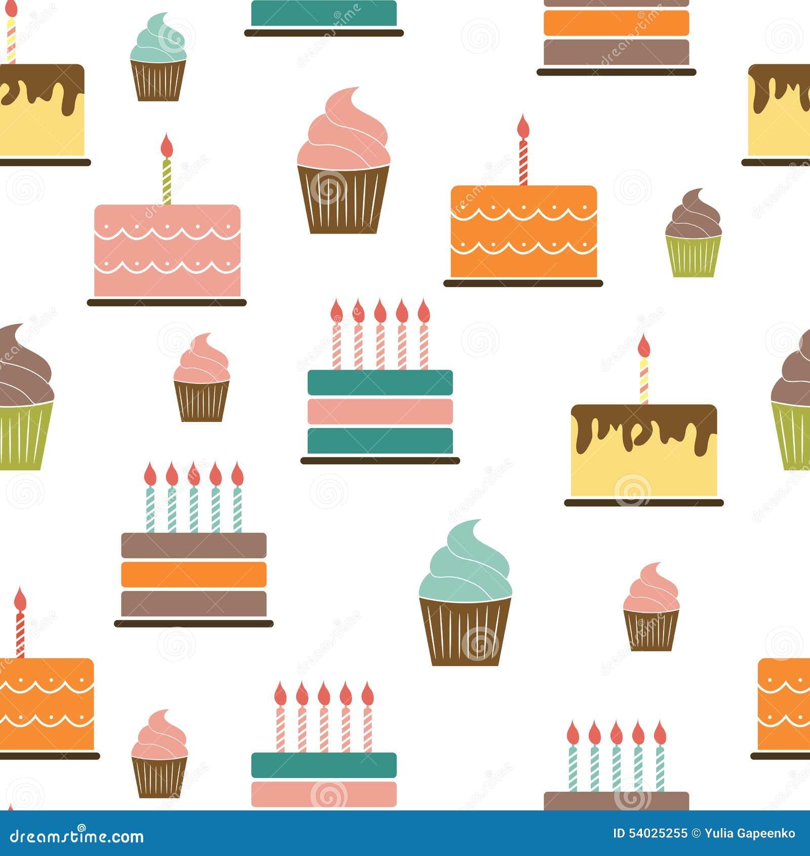 Birthday Cake Flat Seamless Pattern Background