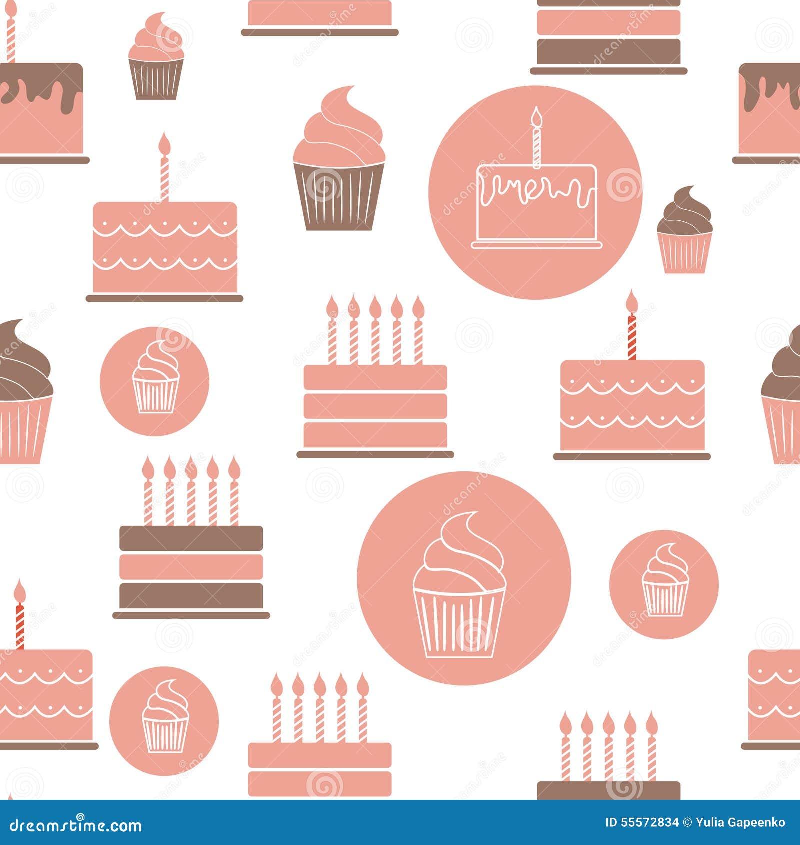 Birthday Cake Flat Seamless Pattern Background Stock Vector