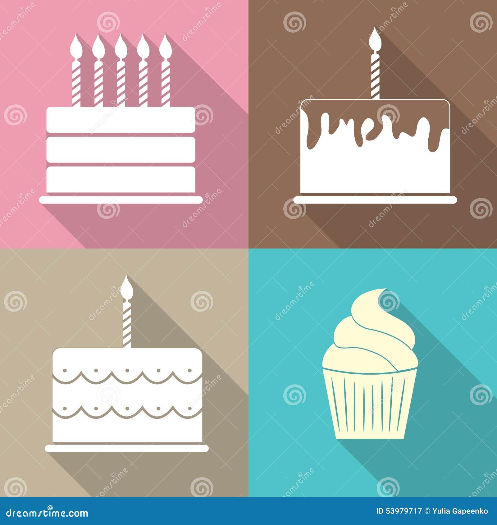 Birthday Cake Flat Web Icon Vector Illustration Stock Vector