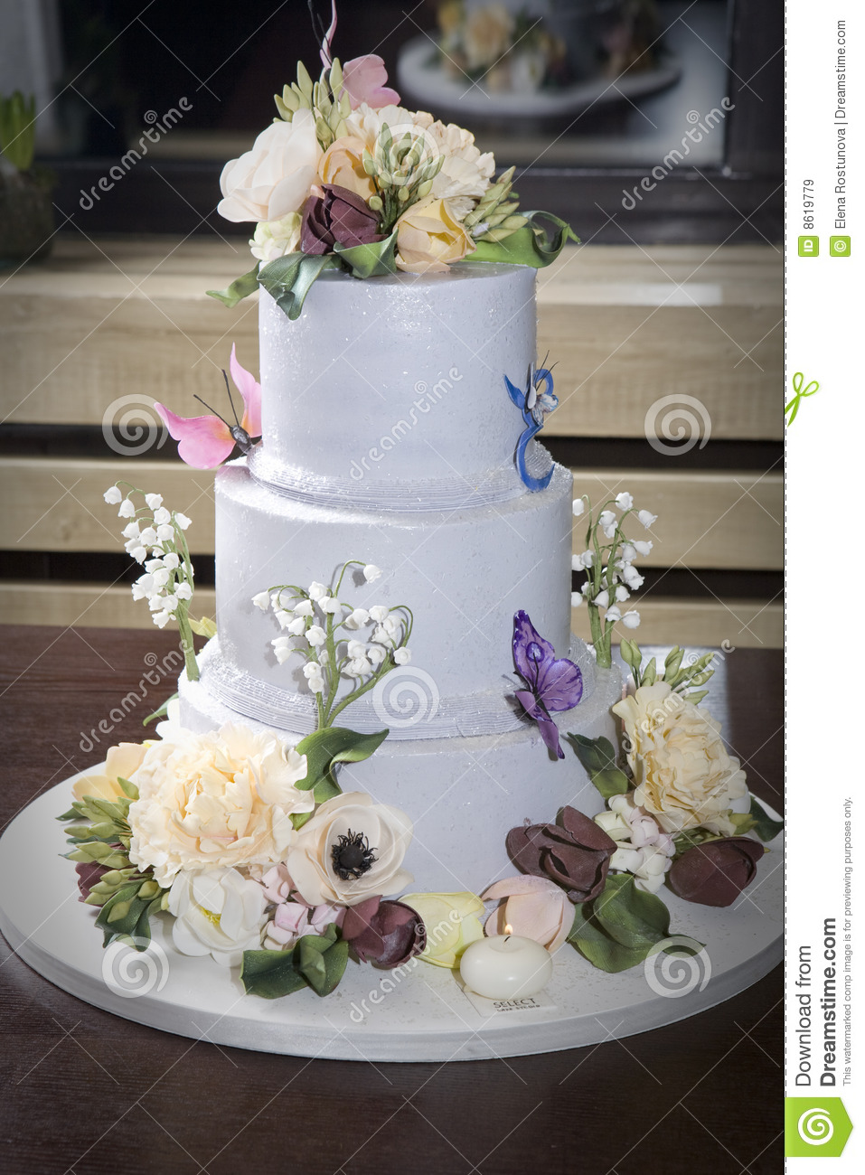 Birthday Cake With Flower Butterfly On Table Stock Image Image of