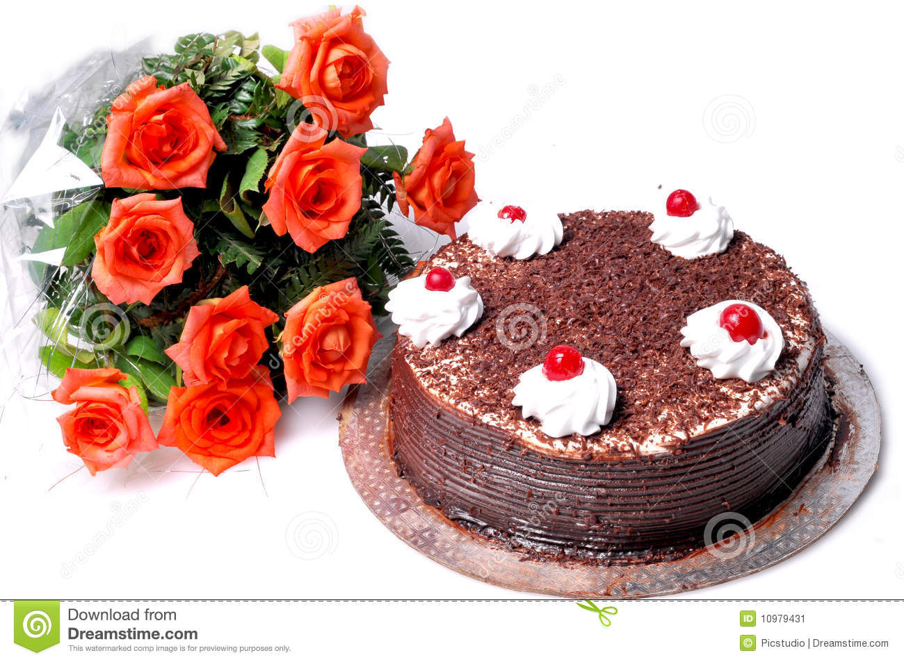 Birthday Cake And Flowers Stock Image Image Of Chocolate 10979431