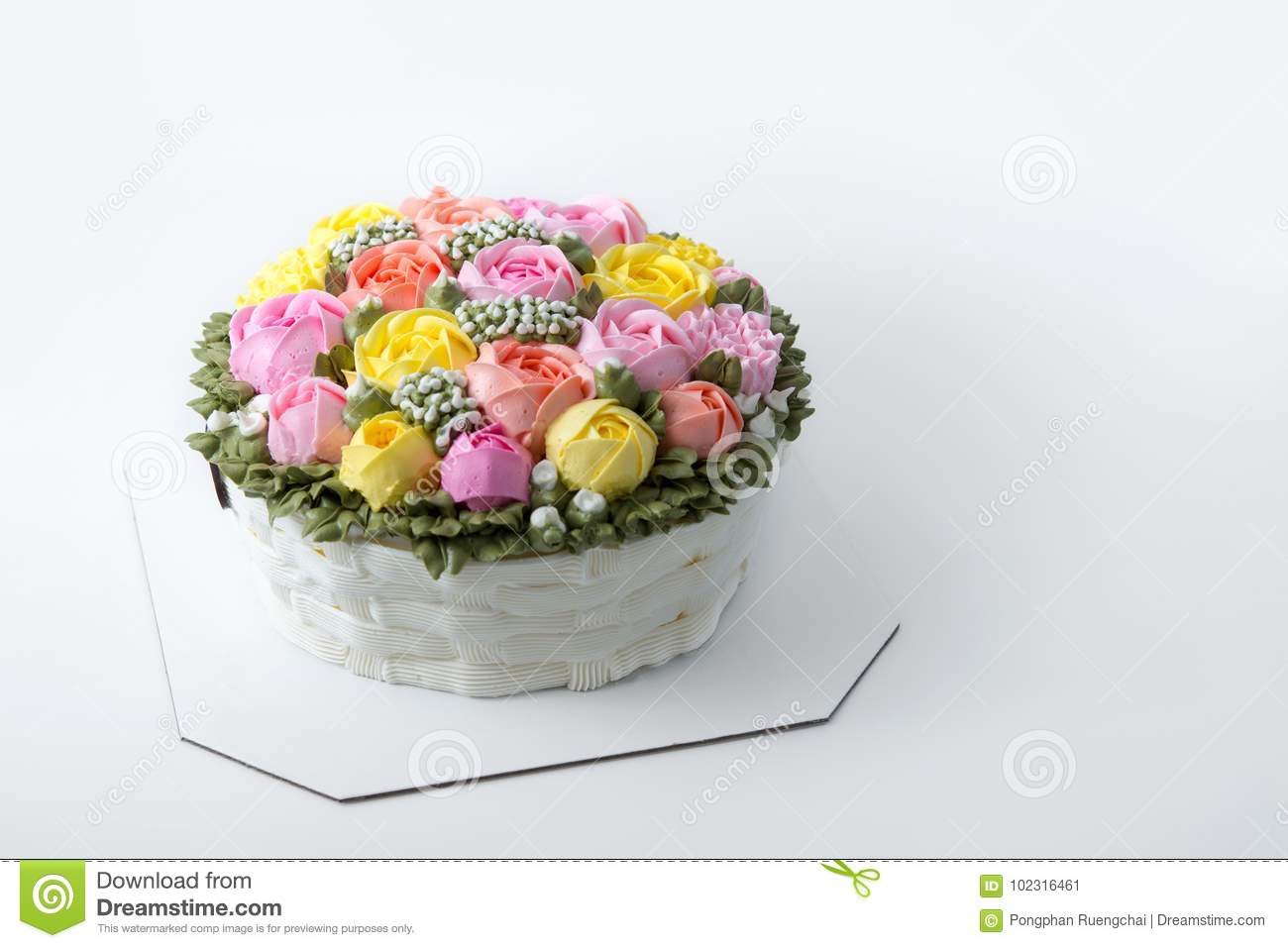 Birthday Cake With Flowers Stock Image Image Of Rose 102316461