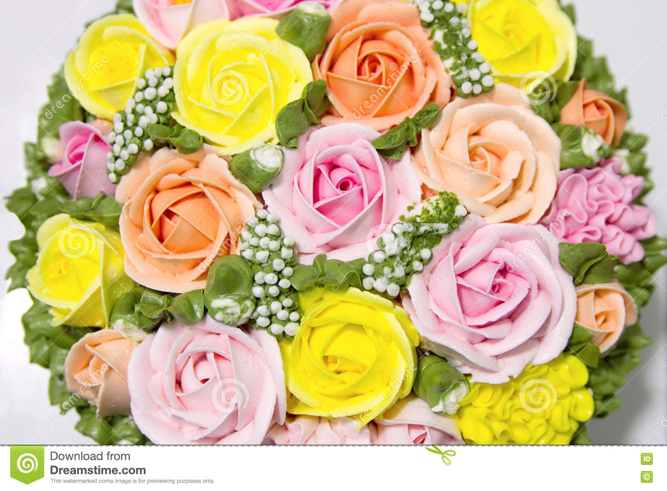 Birthday Cake With Flowers Stock Photo Image Of Color 81619768