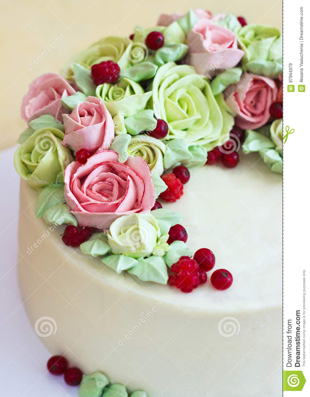 Birthday Cake With Flowers Rose On Light Background Stock Image