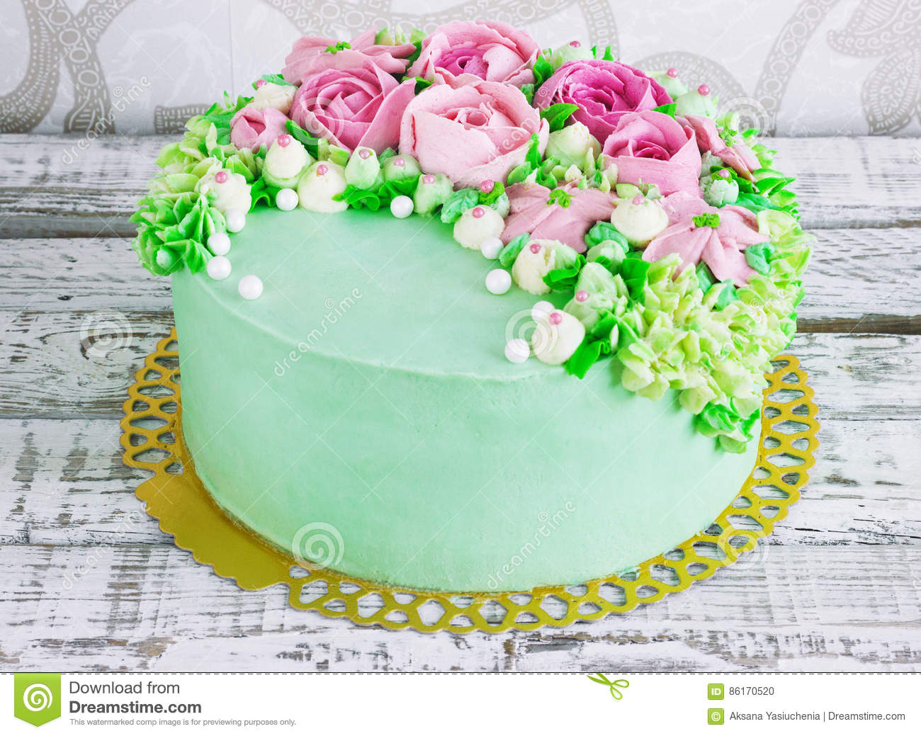 Birthday cake with flowers rose on white background stock photo birthday cake with flowers rose on white background izmirmasajfo Choice Image