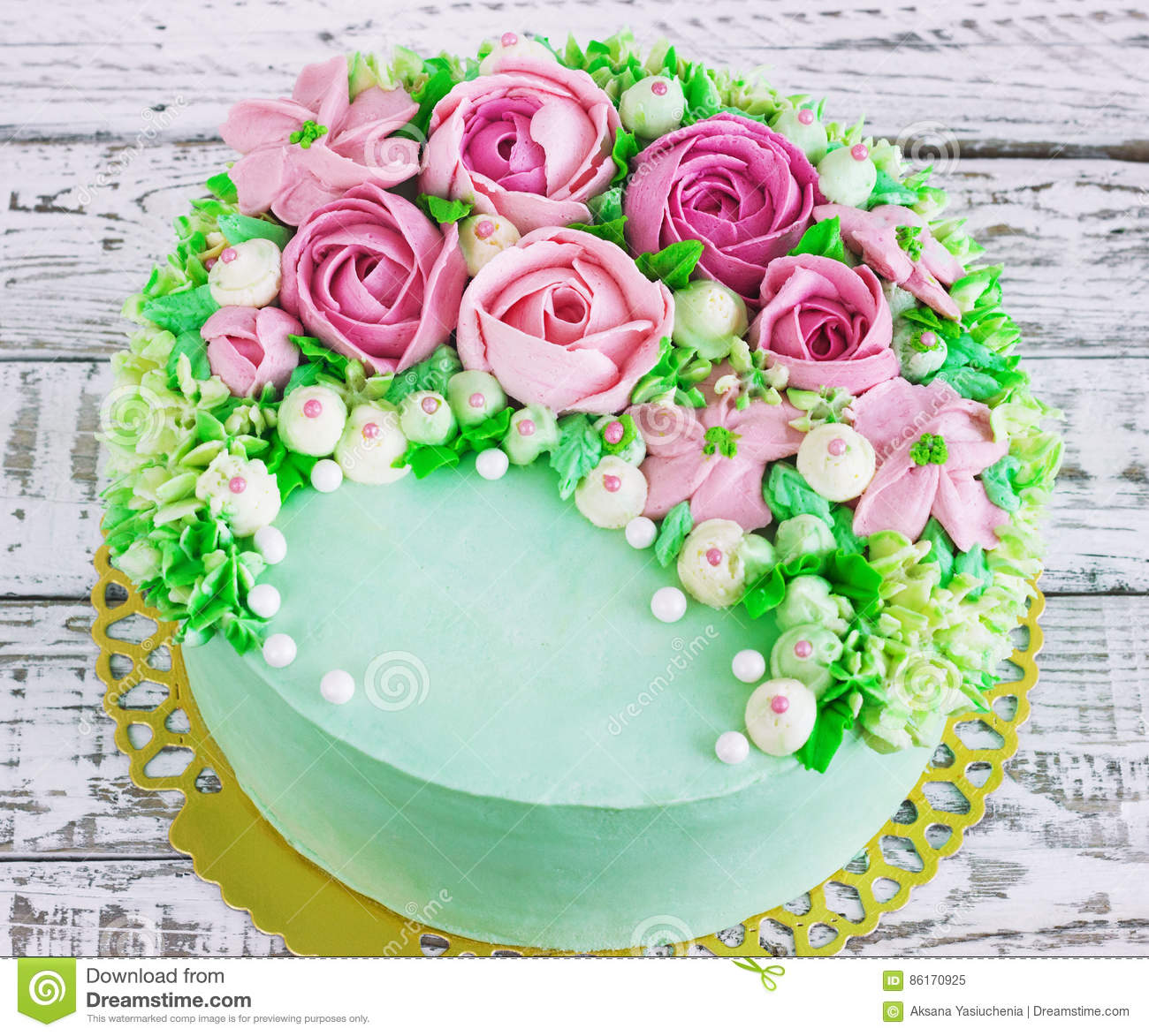 Birthday cake with flowers rose on white background stock image download birthday cake with flowers rose on white background stock image image of celebration izmirmasajfo