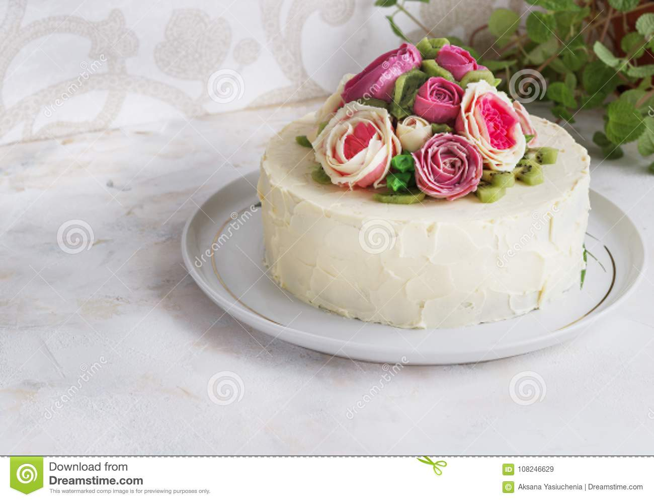 Birthday cake with flowers rose on white background stock image birthday cake with flowers rose on white background izmirmasajfo