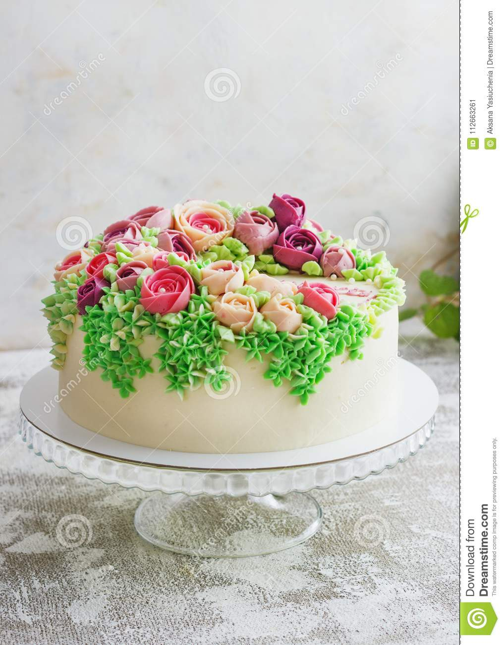 Awesome Birthday Cake With Flowers Rose On White Background Stock Image Funny Birthday Cards Online Elaedamsfinfo
