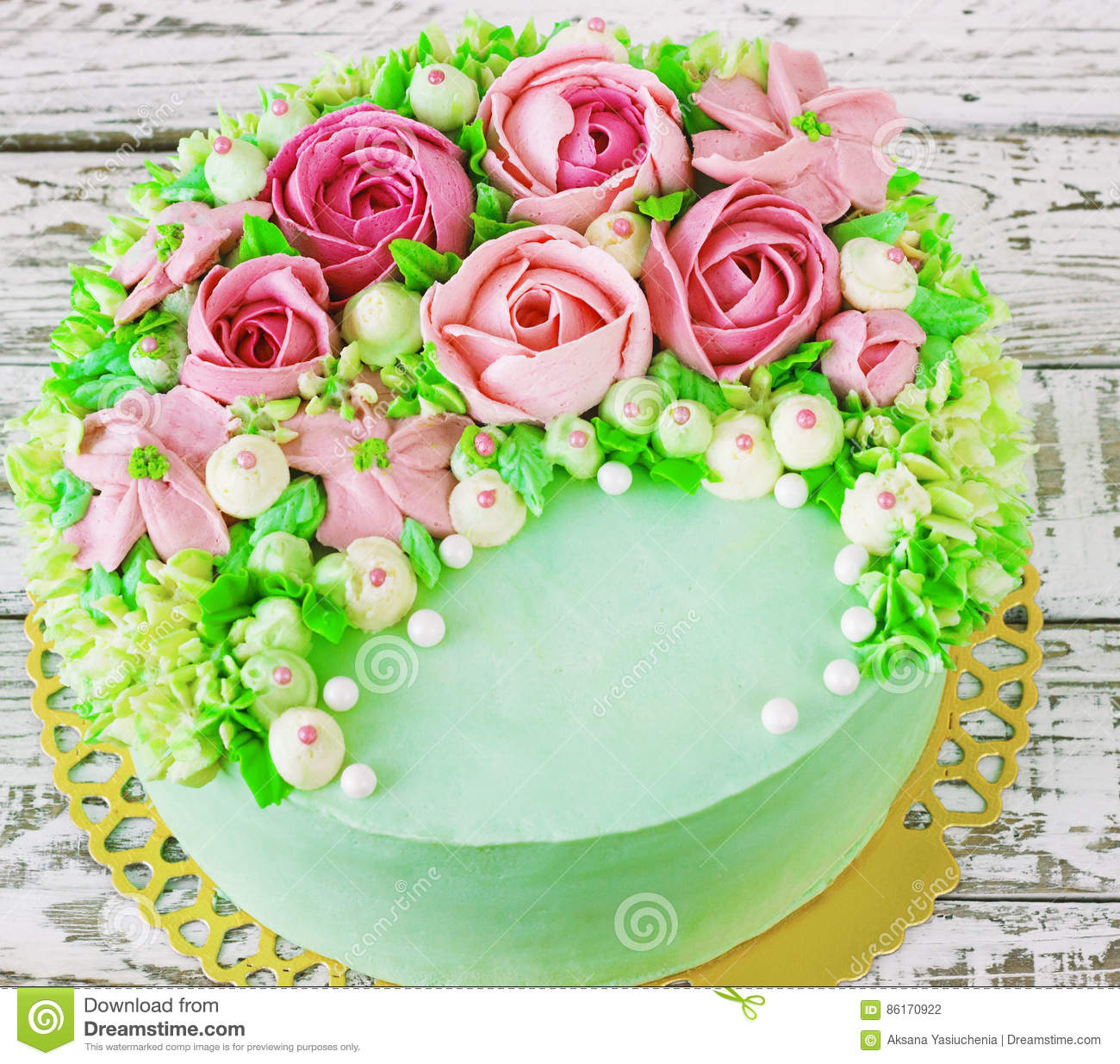 Birthday cake with flowers rose on white background stock photo birthday cake with flowers rose on white background izmirmasajfo