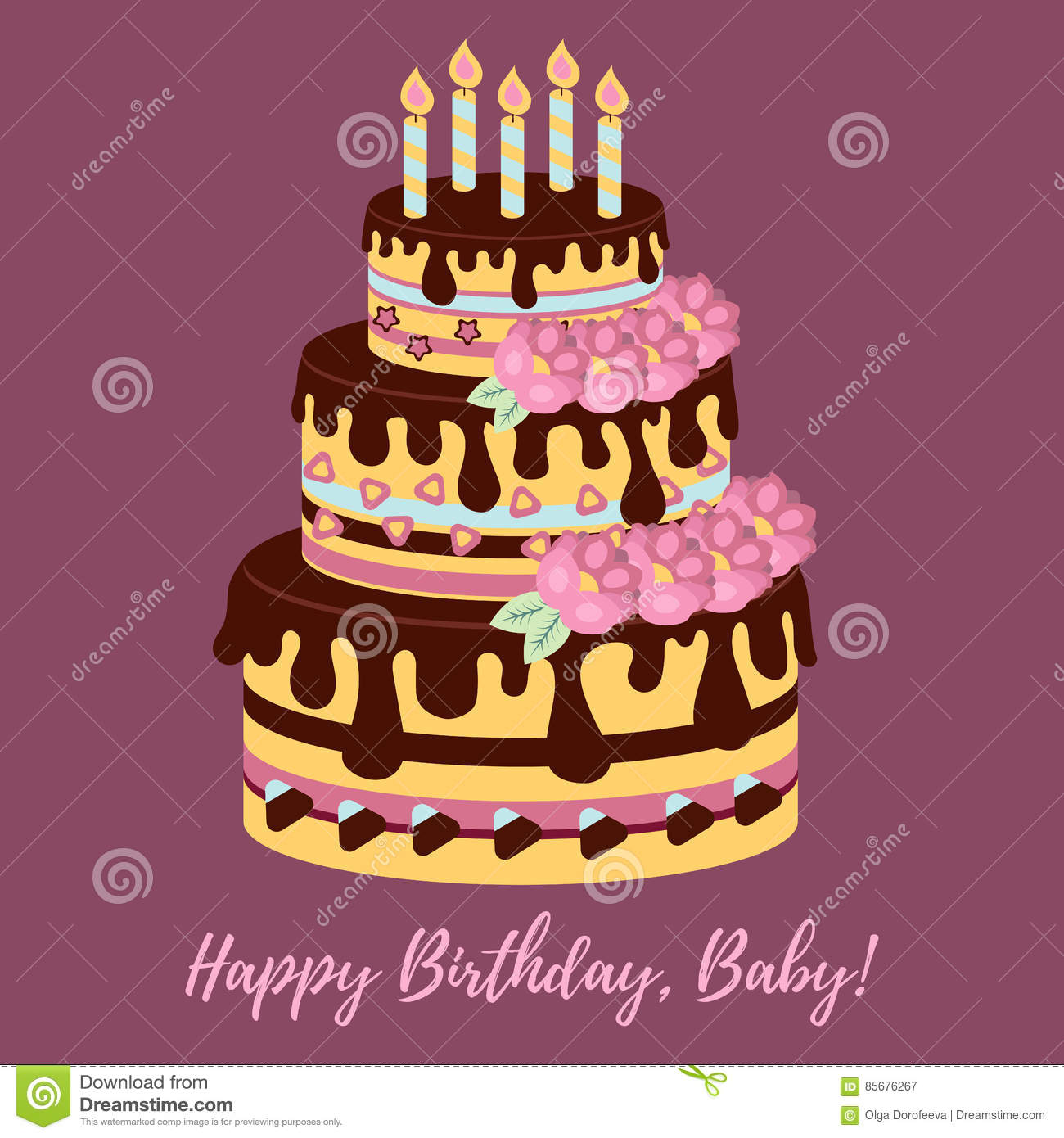 Sensational Birthday Cake With Flowers Vector Stock Vector Illustration Of Funny Birthday Cards Online Alyptdamsfinfo