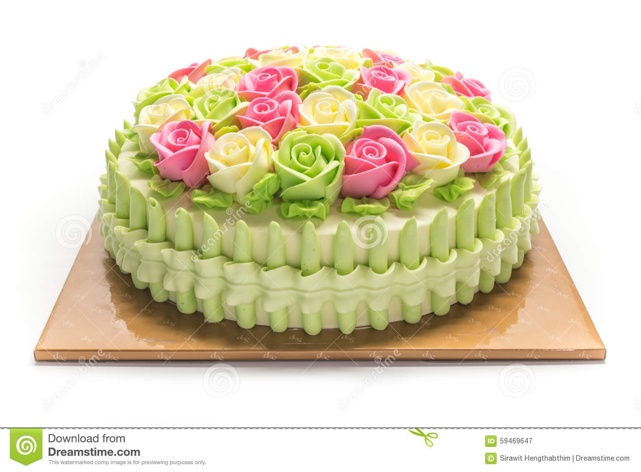 Birthday Cake With Flowers On White Stock Image Image Of